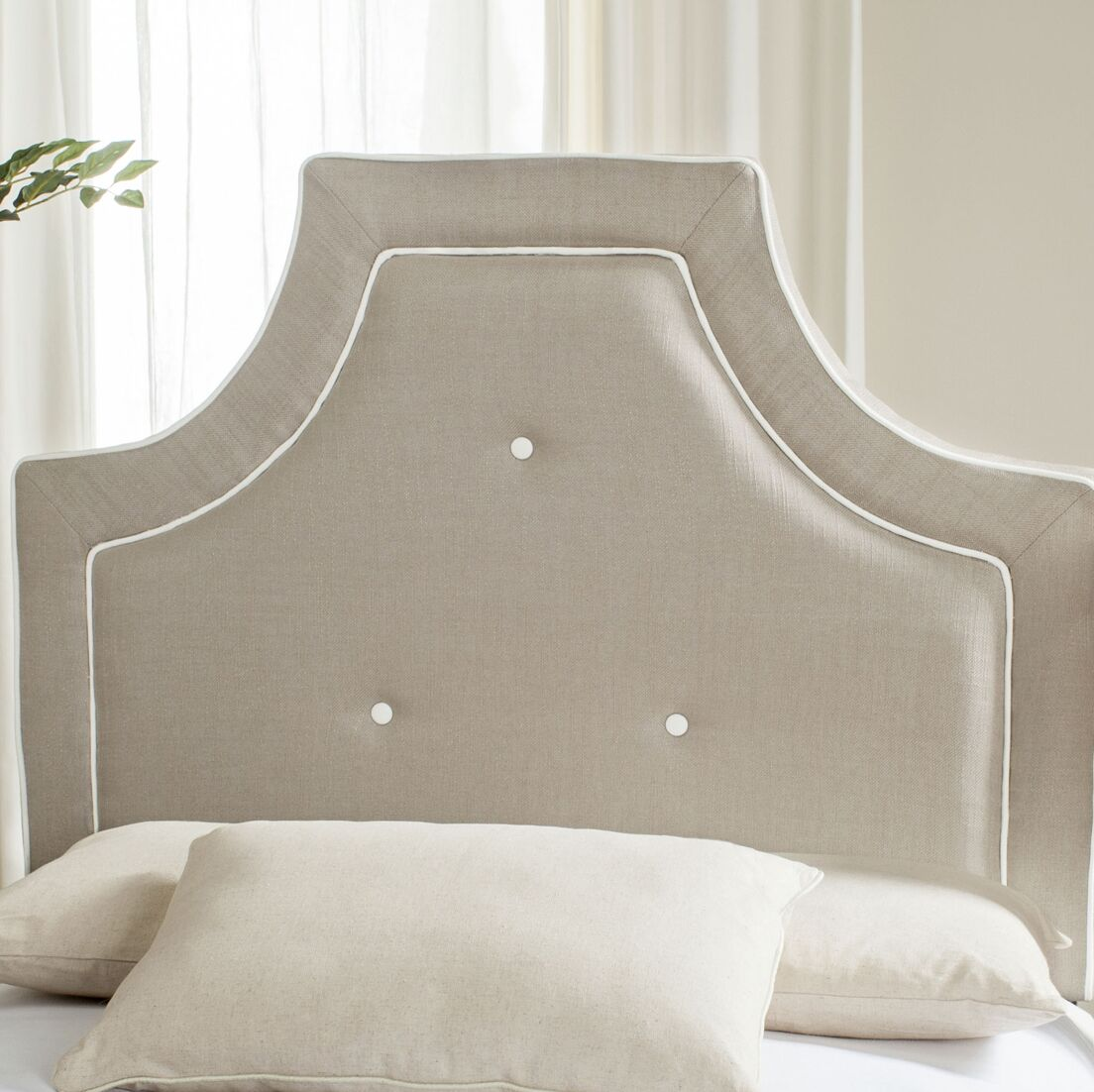 Ottoville Upholstered Panel Headboard Size: Twin, Color: Smoke / White