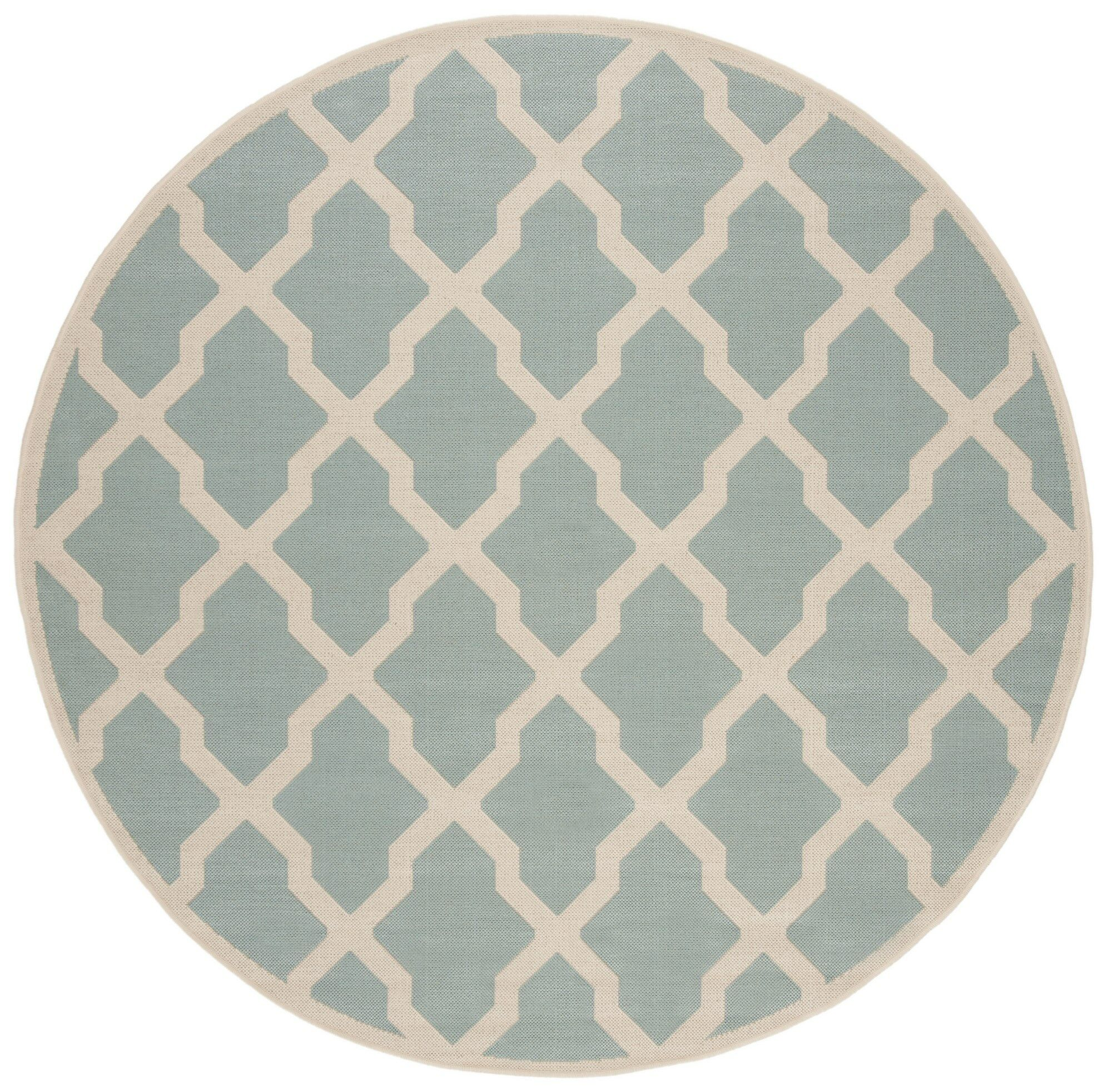Backstrom Hand-Tufted Turquoise Area Rug Rug Size: Round 6'