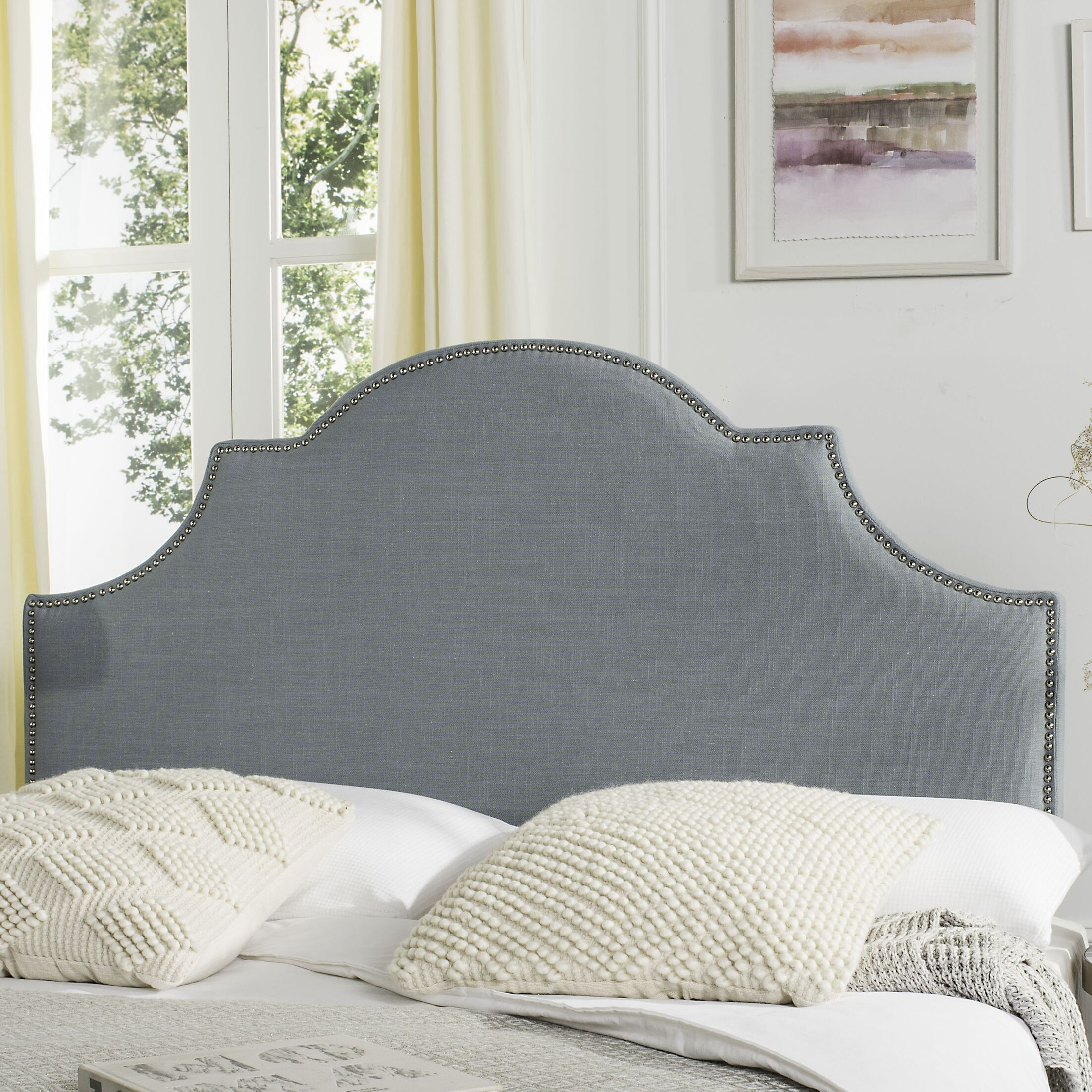 Caswell Upholstered Panel Headboard Size: Queen, Color: Sky Blue, Upholstery: Polyester