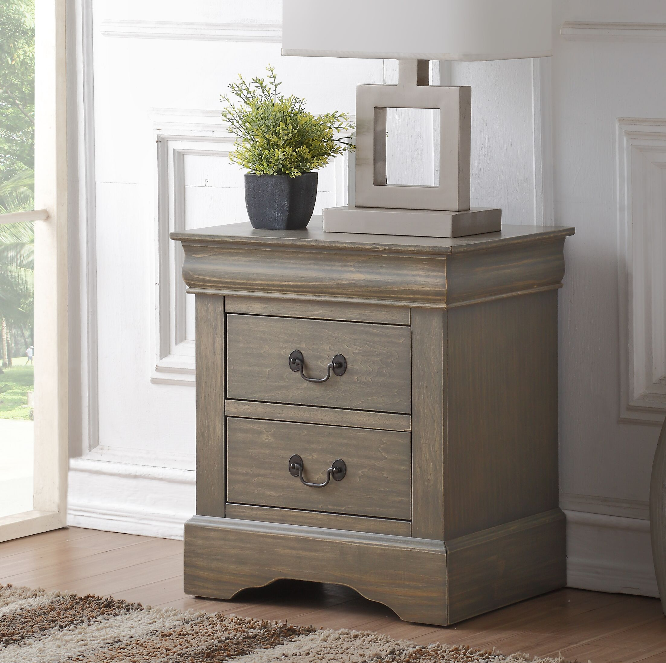 Whispering Pines 2 Drawer Nightstand Color: Antique Gray