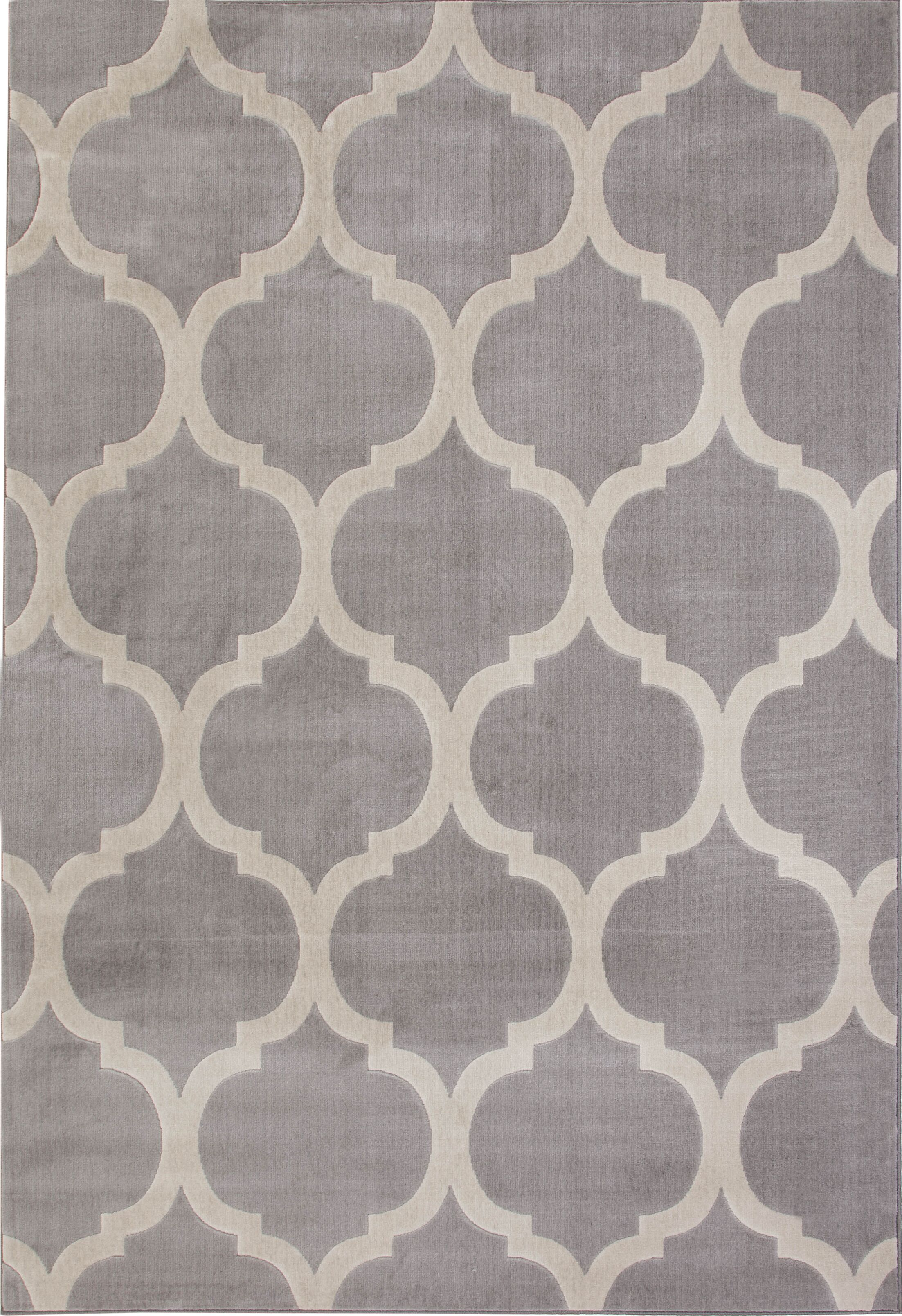 Estelle Gray/Ivory Area Rug Rug Size: 5'3