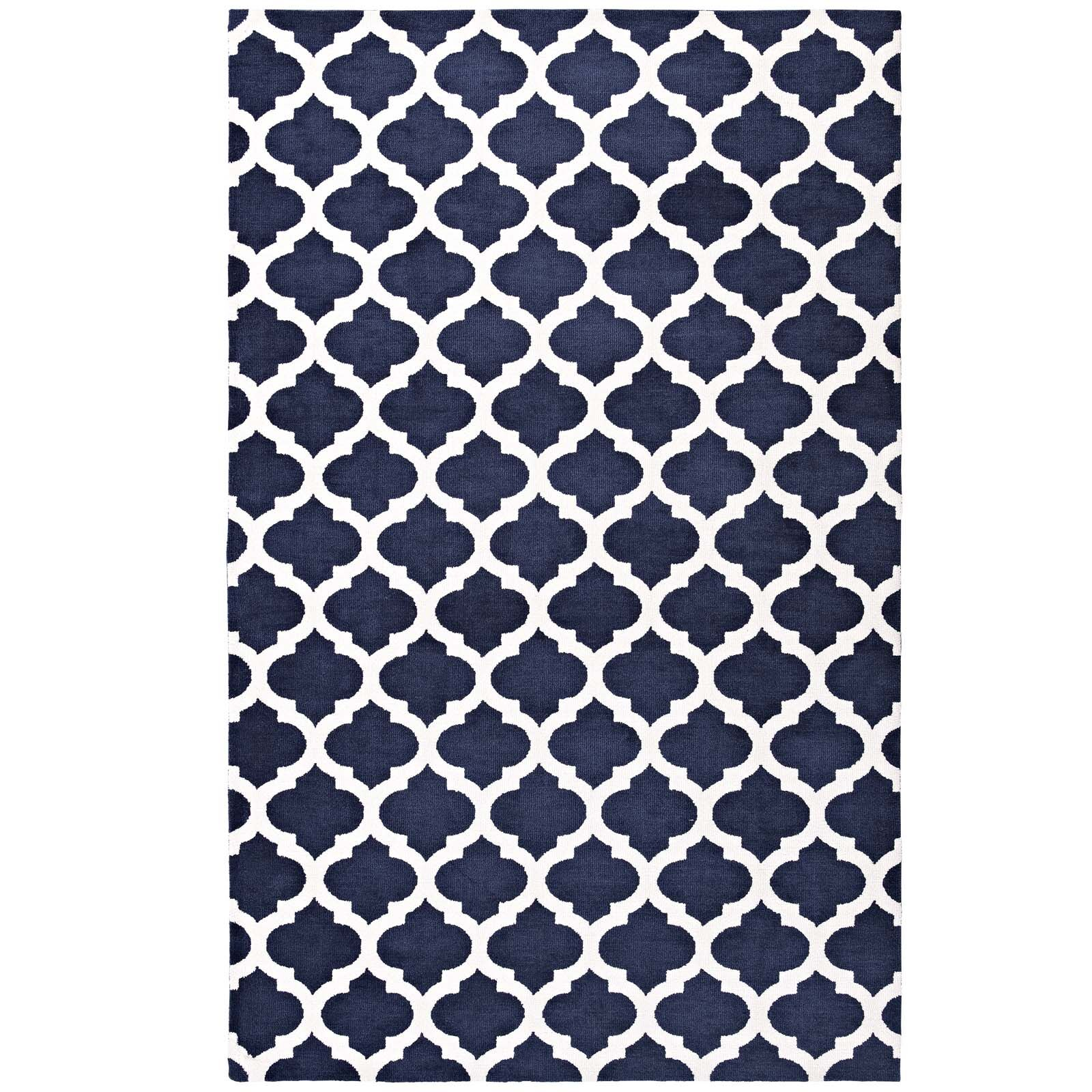 Tusten Moroccan Trellis Navy/Ivory Area Rug Rug Size: Rectangle 5' x 8'