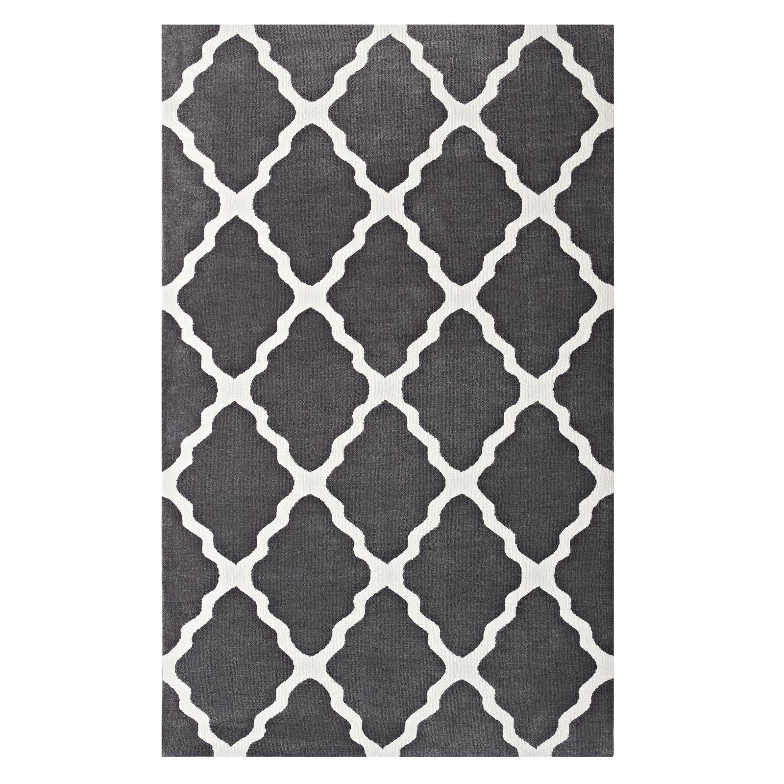 Tylersburg Moroccan Trellis Charcoal/Ivory Area Rug Rug Size: Rectangle 8' x 10'