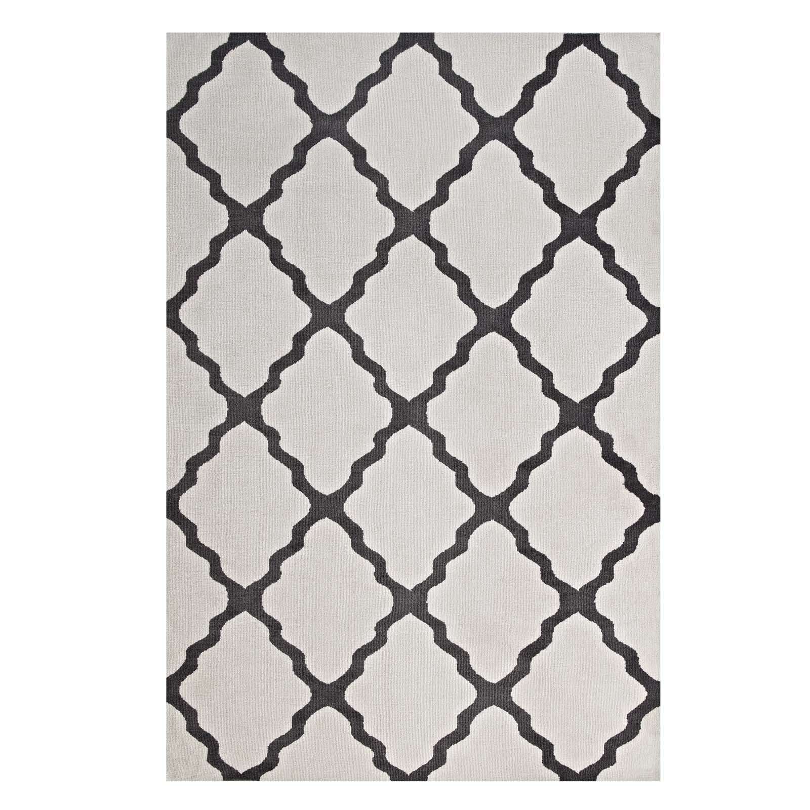 Tylersburg Moroccan Trellis Ivory/Charcoal Area Rug Rug Size: Rectangle 8' x 10'