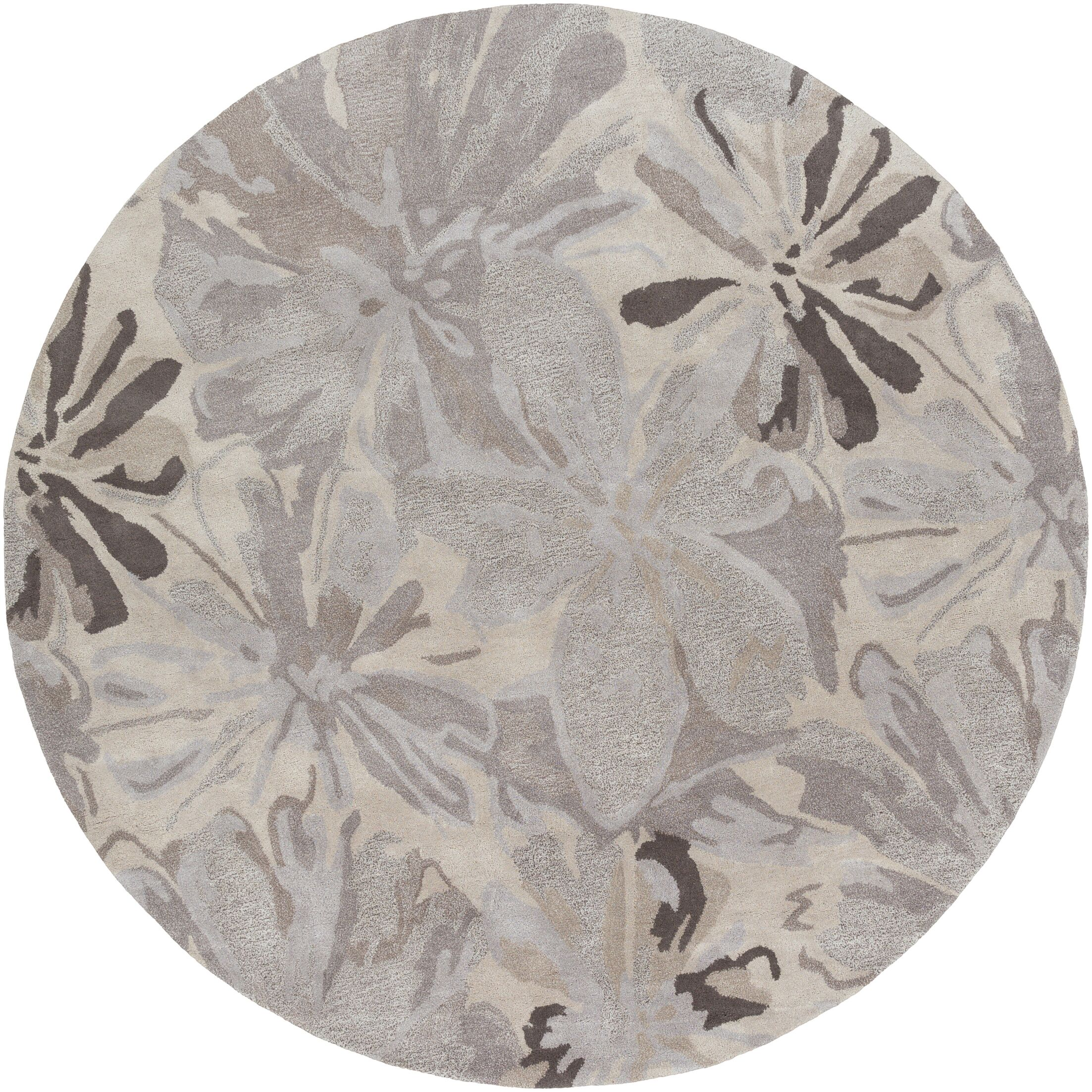 Amice Beige/Gray Area Rug Rug Size: Round 4'