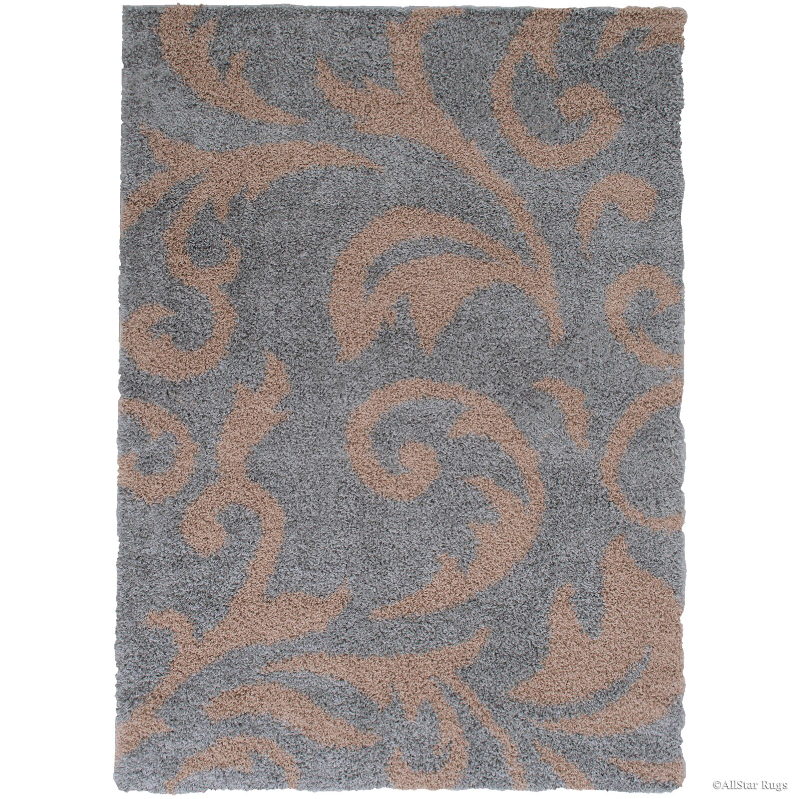 Finchley High Pile Posh Shaggy Paisley Printed Silver Area Rug Rug Size: 5' x 7'