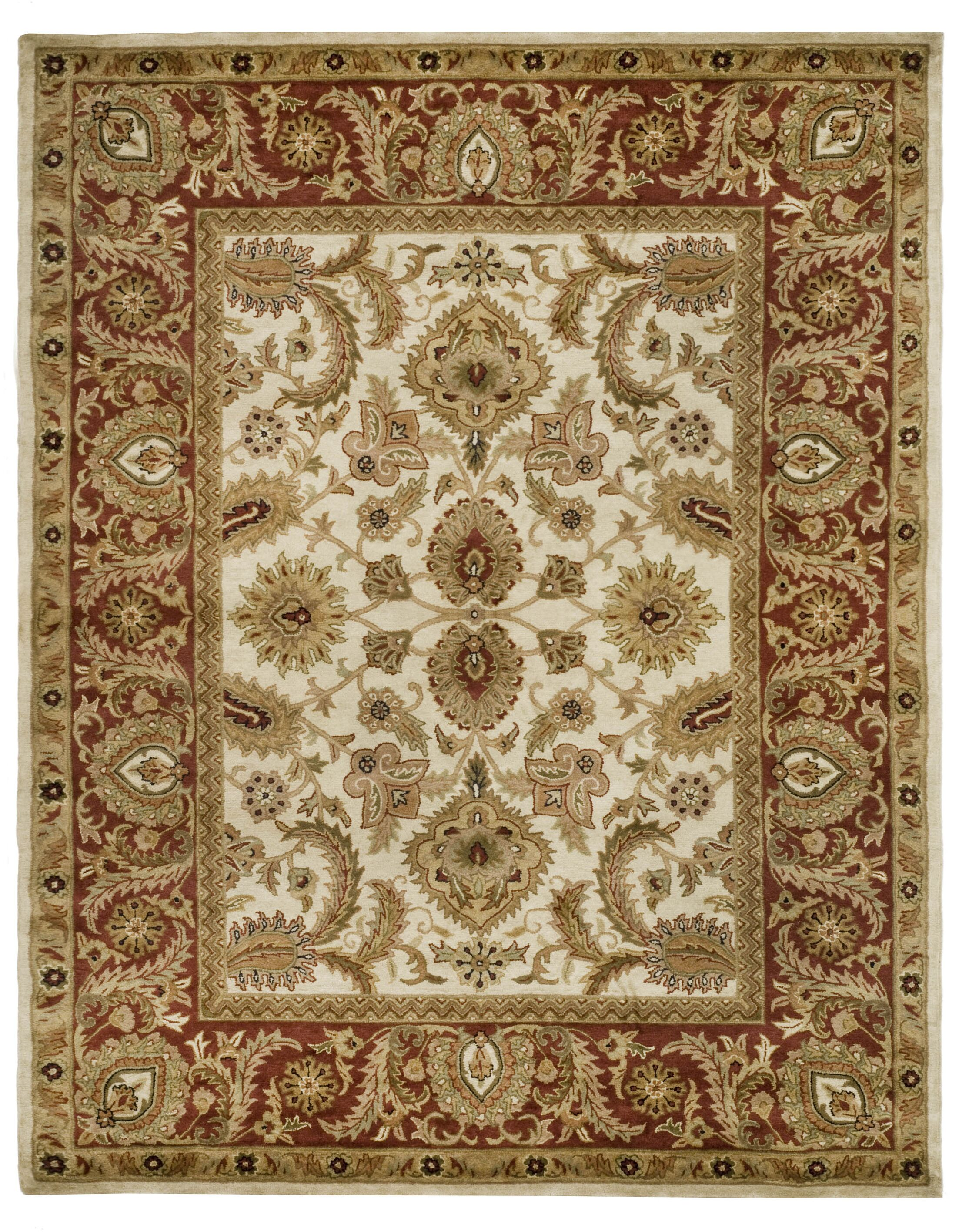 Bromley Hand-Tufted Wool Ivory/Red Area Rug Rug Size: Rectangle 7'6