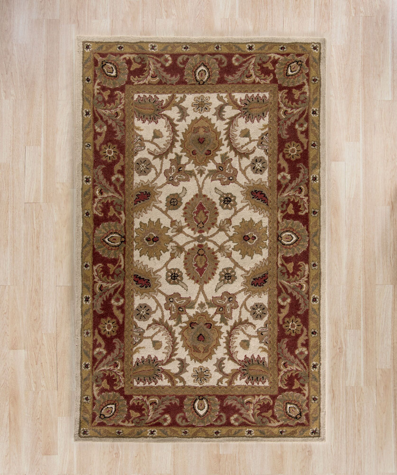 Bromley Hand-Tufted Wool Ivory/Red Area Rug Rug Size: Rectangle 9'6