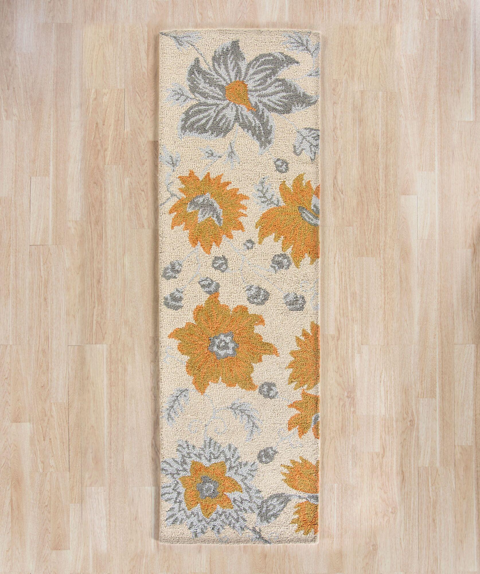 Elsner Ivory Floral Area Rug Rug Size: Runner 2'3