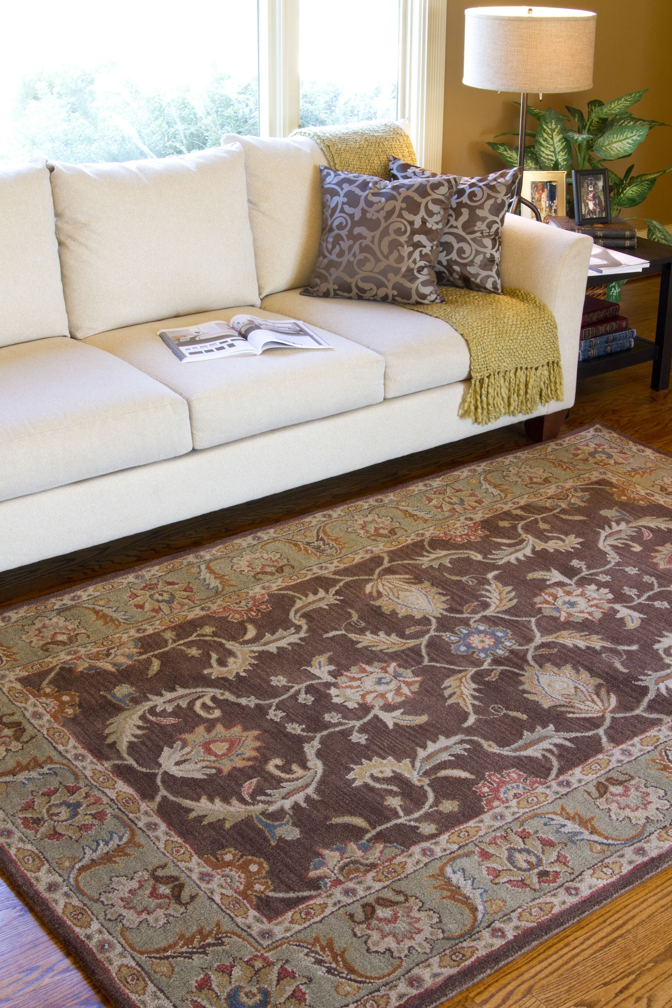 Waterston Floral Brown Area Rug Rug Size: Round 4'