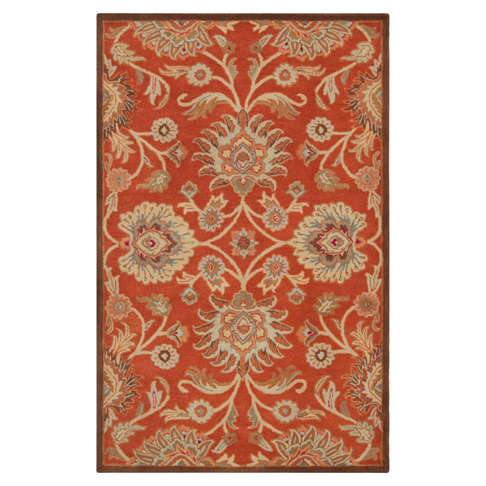 Mcloon Hand-Woven Wool Red Area Rug Rug Size: Rectangle 5' x 8'