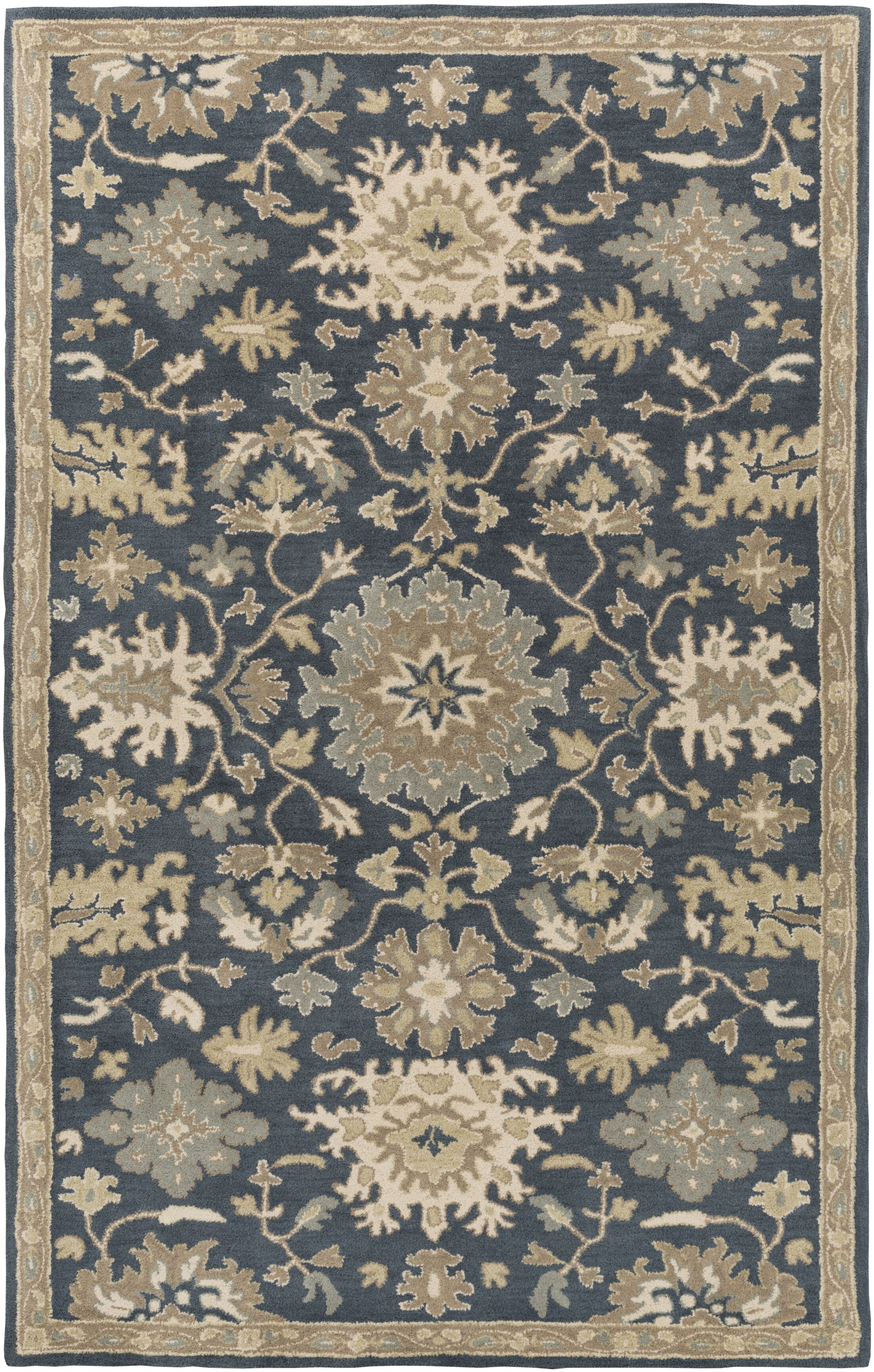 Willard Navy & Olive Area Rug Rug Size: Oval 6' x 9'