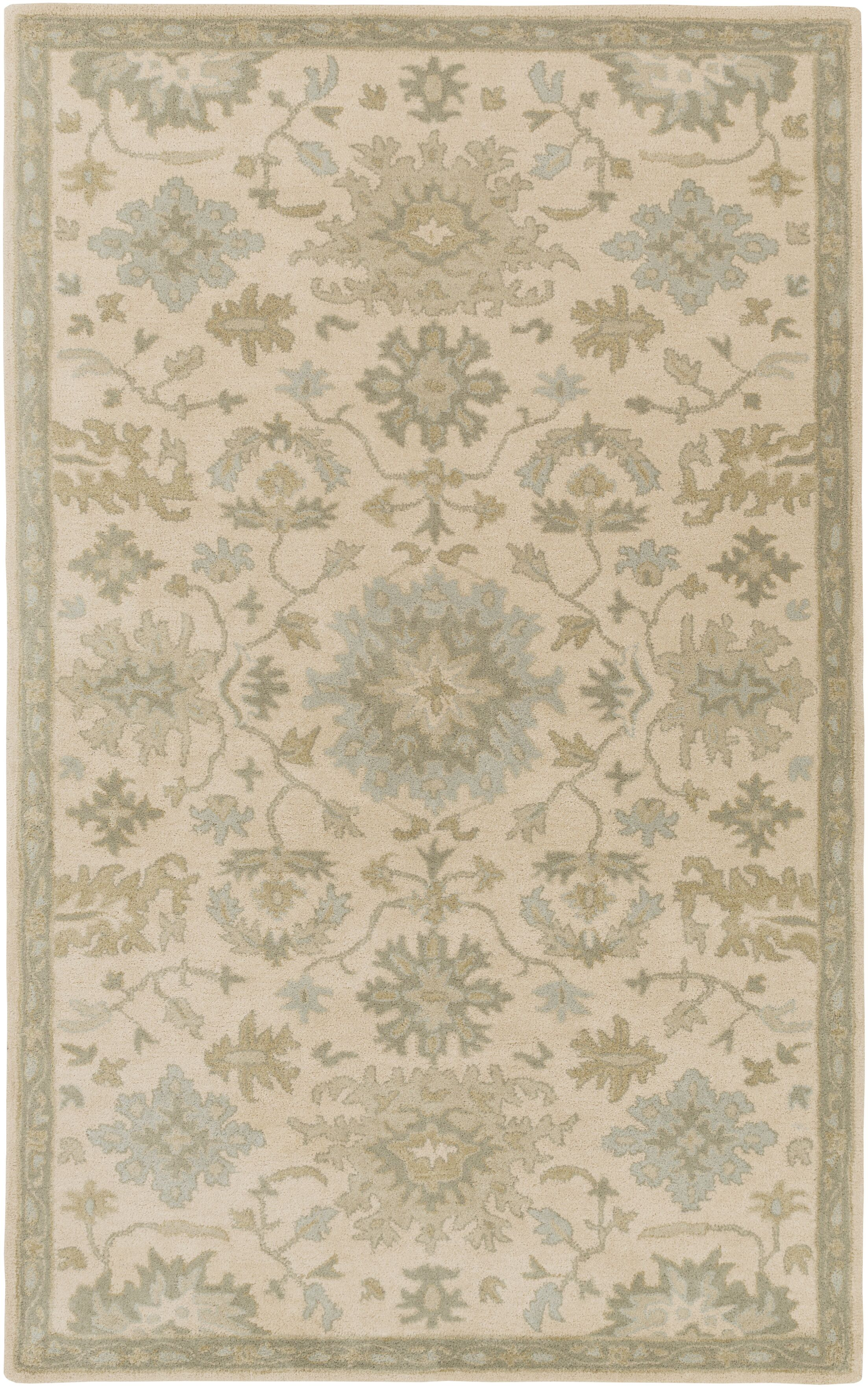 Willard Hand-Woven Wool Beige/Green Area Rug Rug Size: Rectangle 7'6