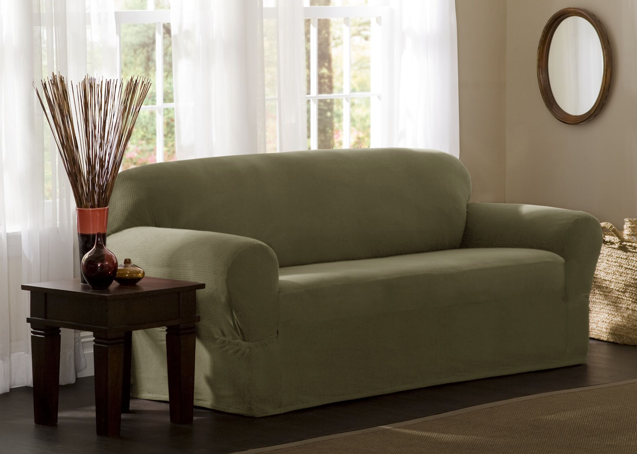 Box Cushion Sofa Slipcover Upholstery: Dark Sage