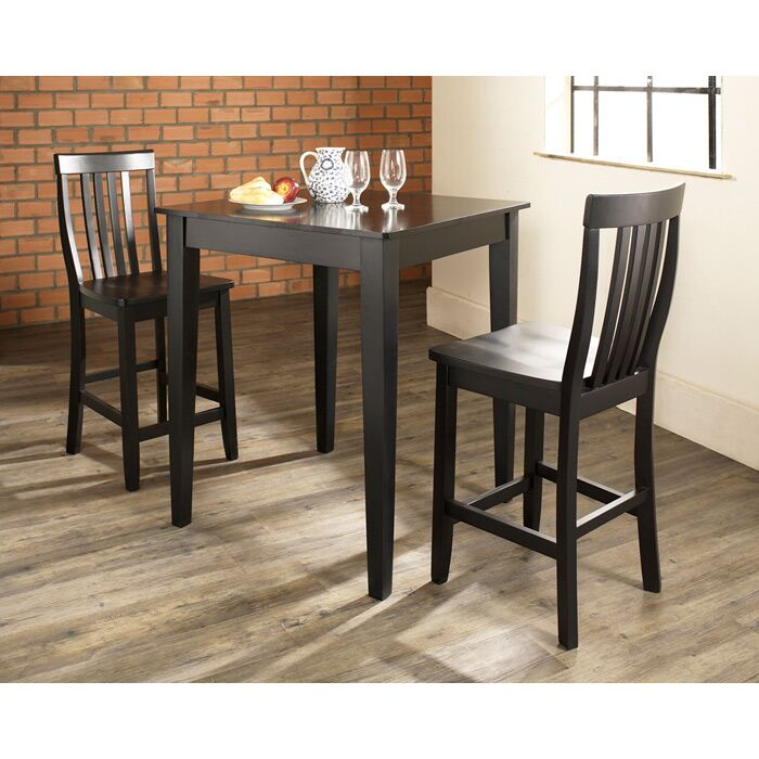 Pittman 3 Piece Pub Table Set with Tapered Leg Table and Barstools Finish: Black