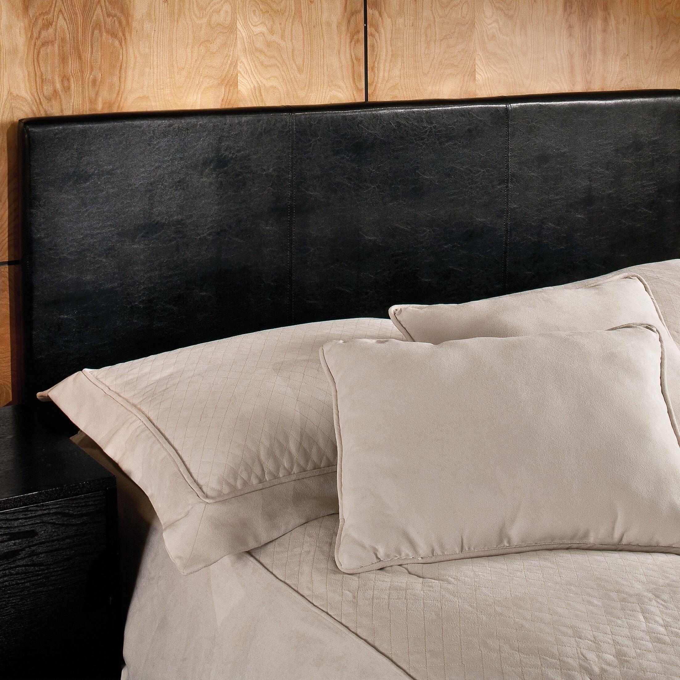Leman Upholstered Panel Headboard Size: Twin, Color: Black Vinyl