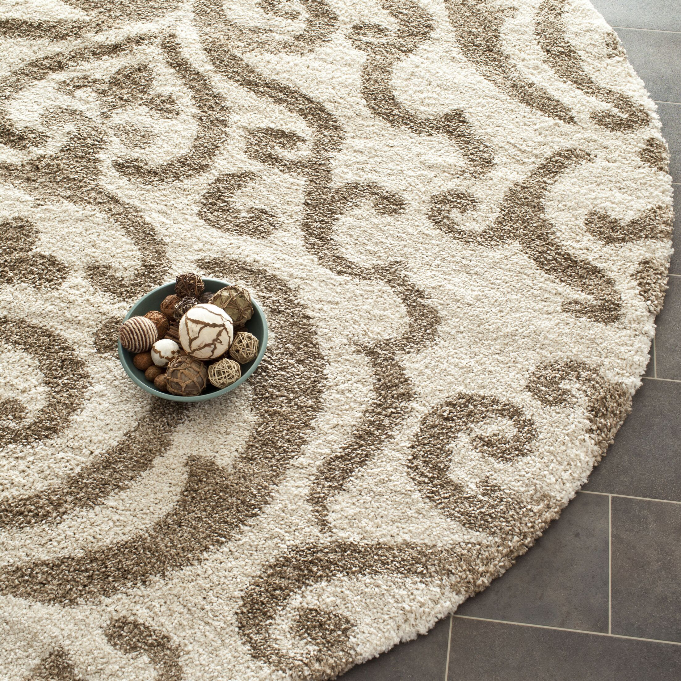 Hall Brown/Beige Area Rug Rug Size: Round 6'7