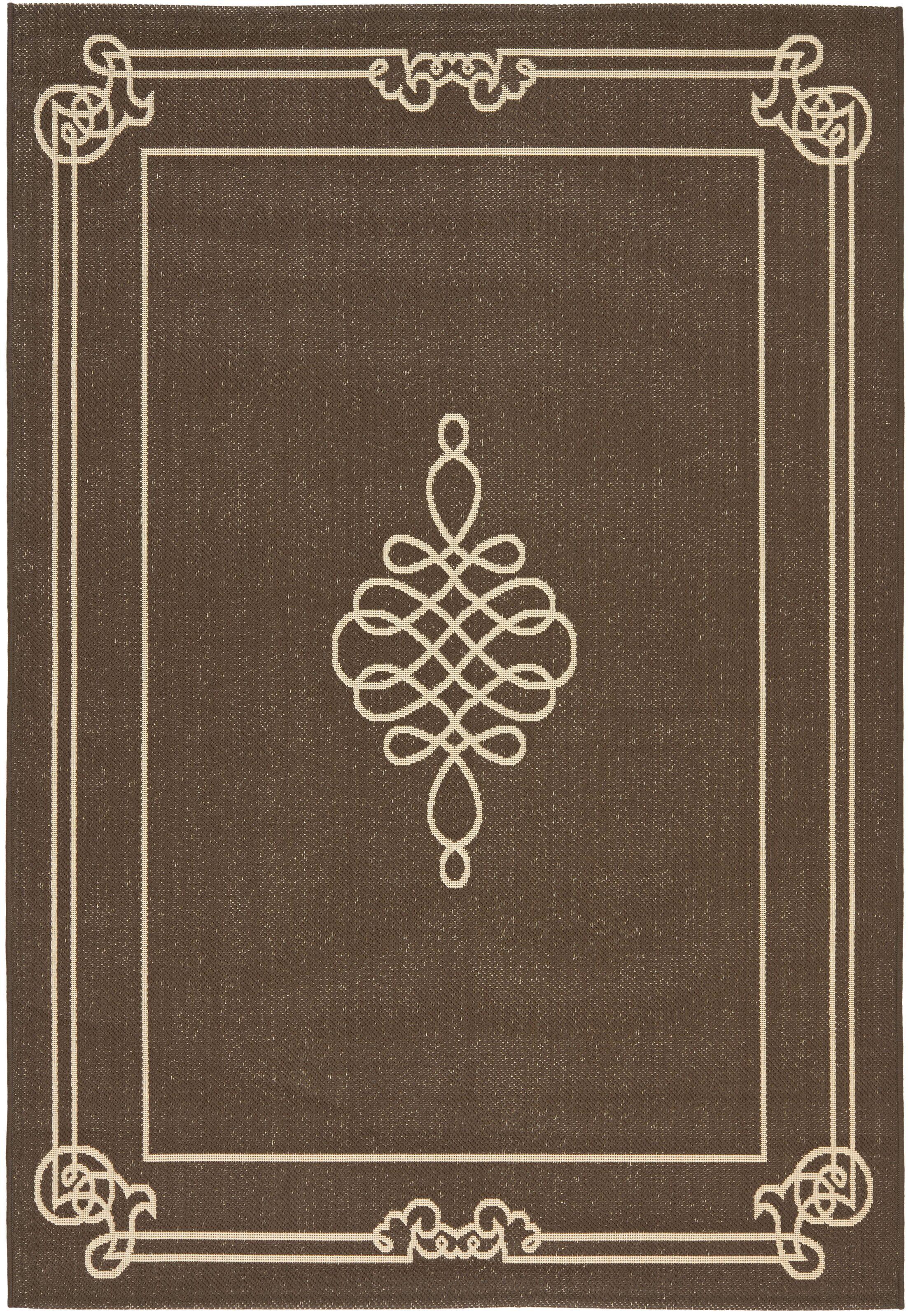Alderman Chocolate / Cream Indoor / Outdoor Area Rug Rug Size: Rectangle 5'3