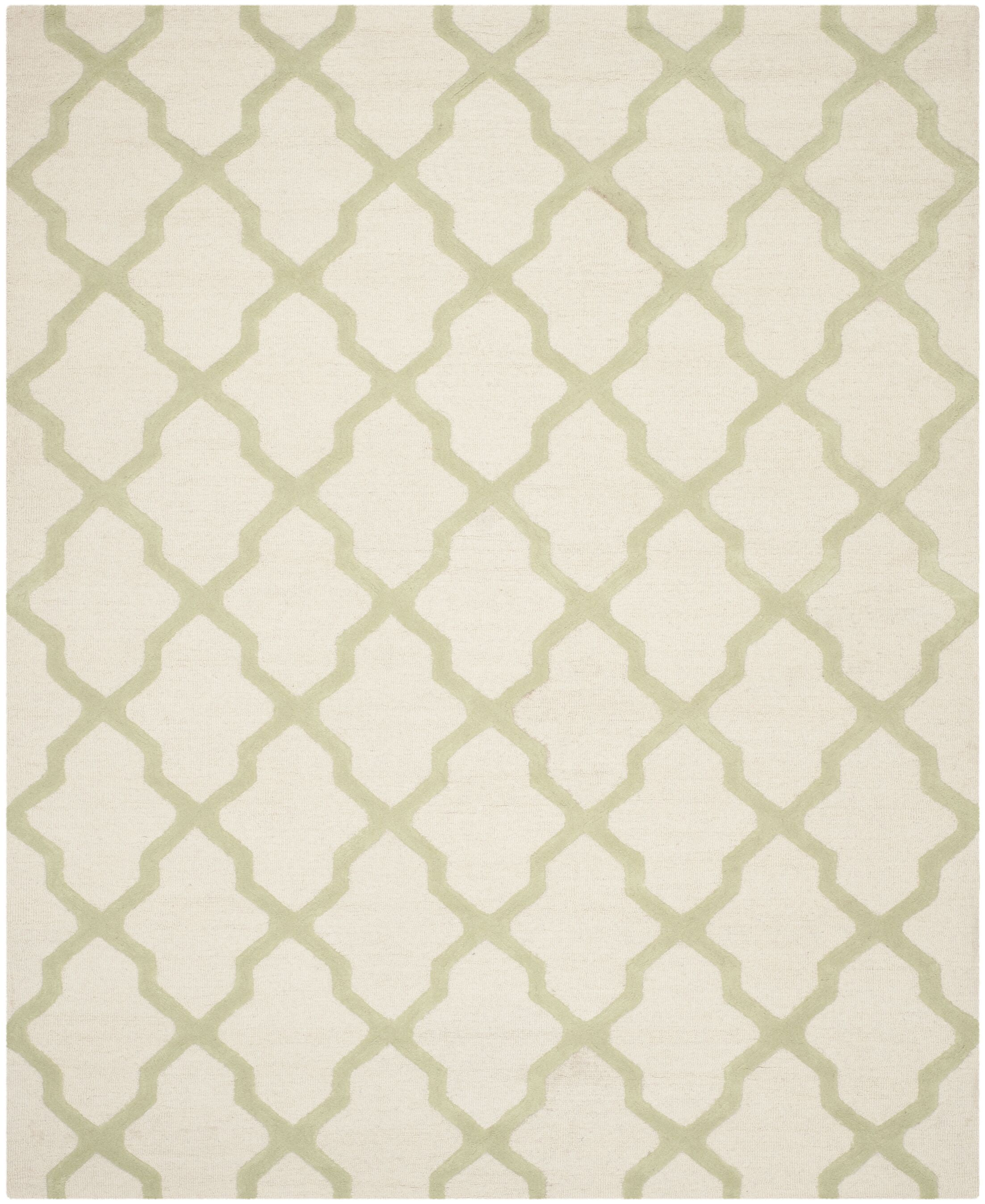 Gillam Hand-Tufted Ivory / Light Green Area Rug Rug Size: Rectangle 6' x 9'