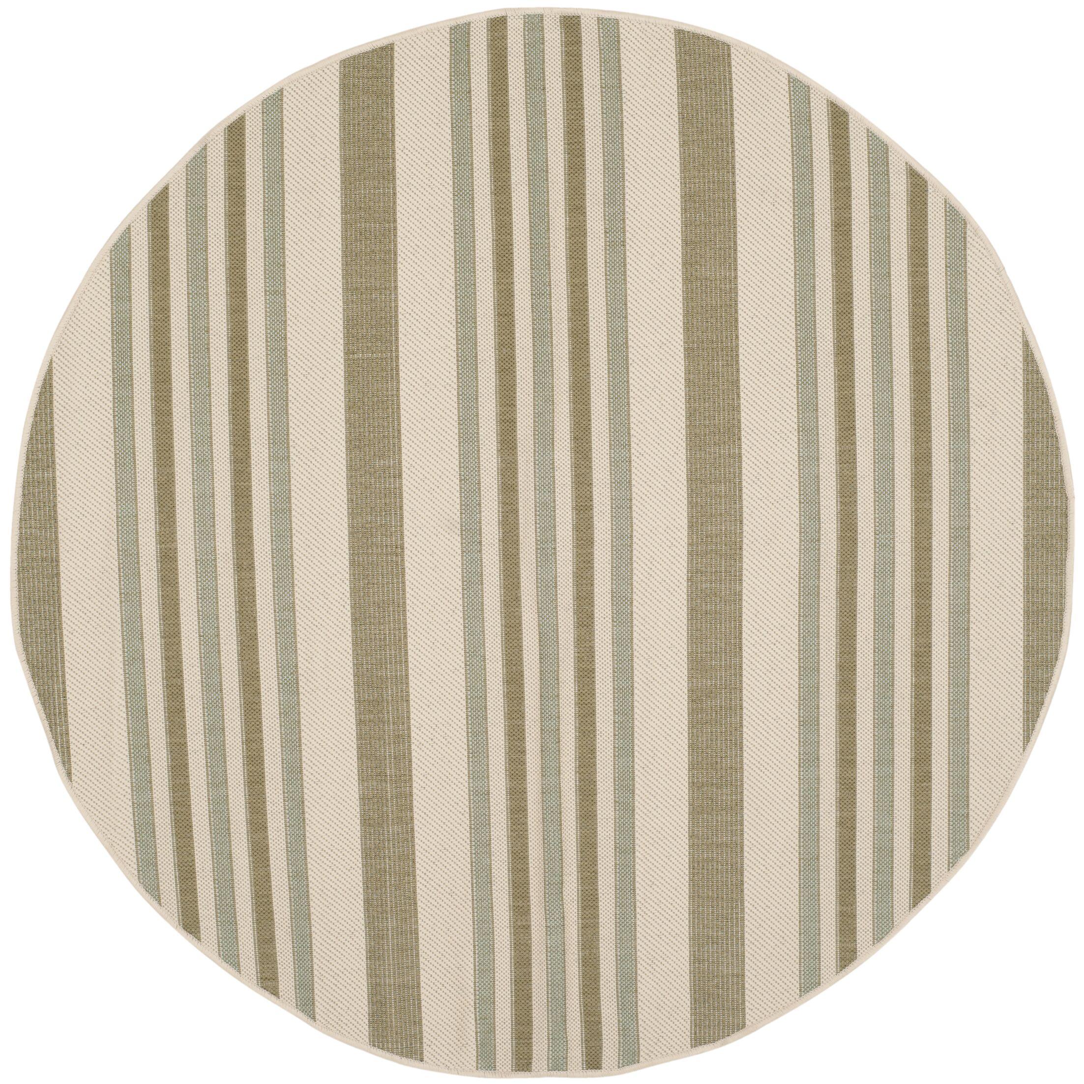 Octavius Beige / Green Indoor / Outdoor Area Rug Rug Size: Round 5'3