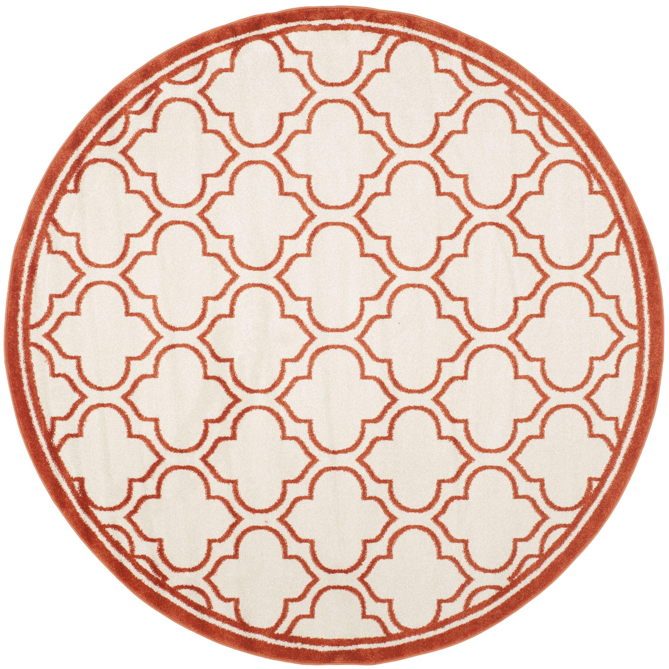 Maritza Ivory / Orange Indoor / Outdoor Area Rug Rug Size: Round 5'