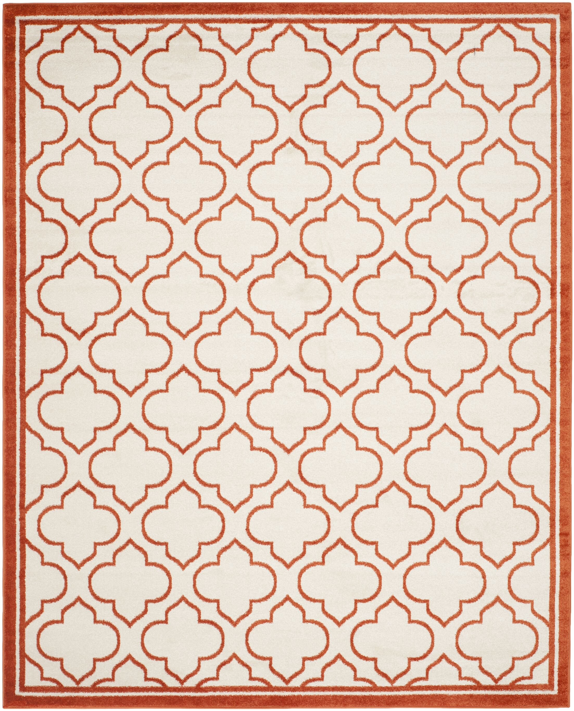 Maritza Ivory / Orange Indoor / Outdoor Area Rug Rug Size: Rectangle 9' x 12'
