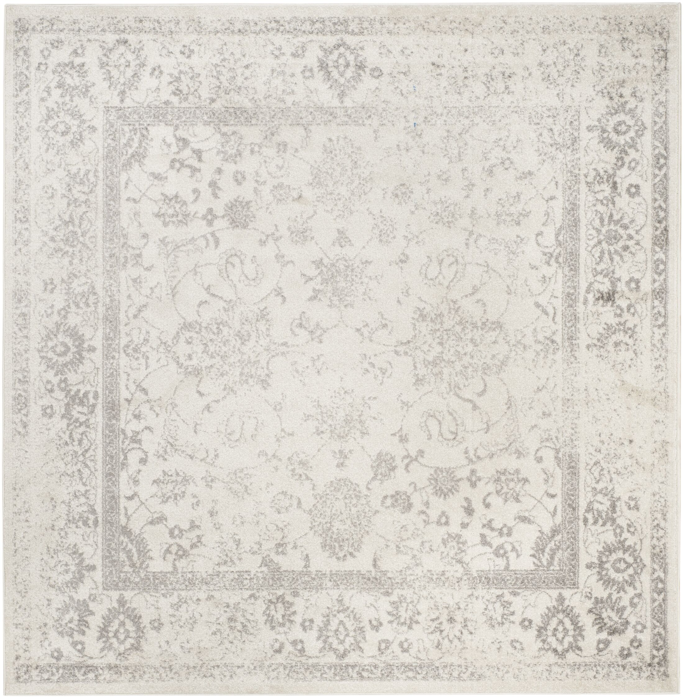 Power Loom Aiken Ivory/Silver Area Rug Rug Size: Square 8'