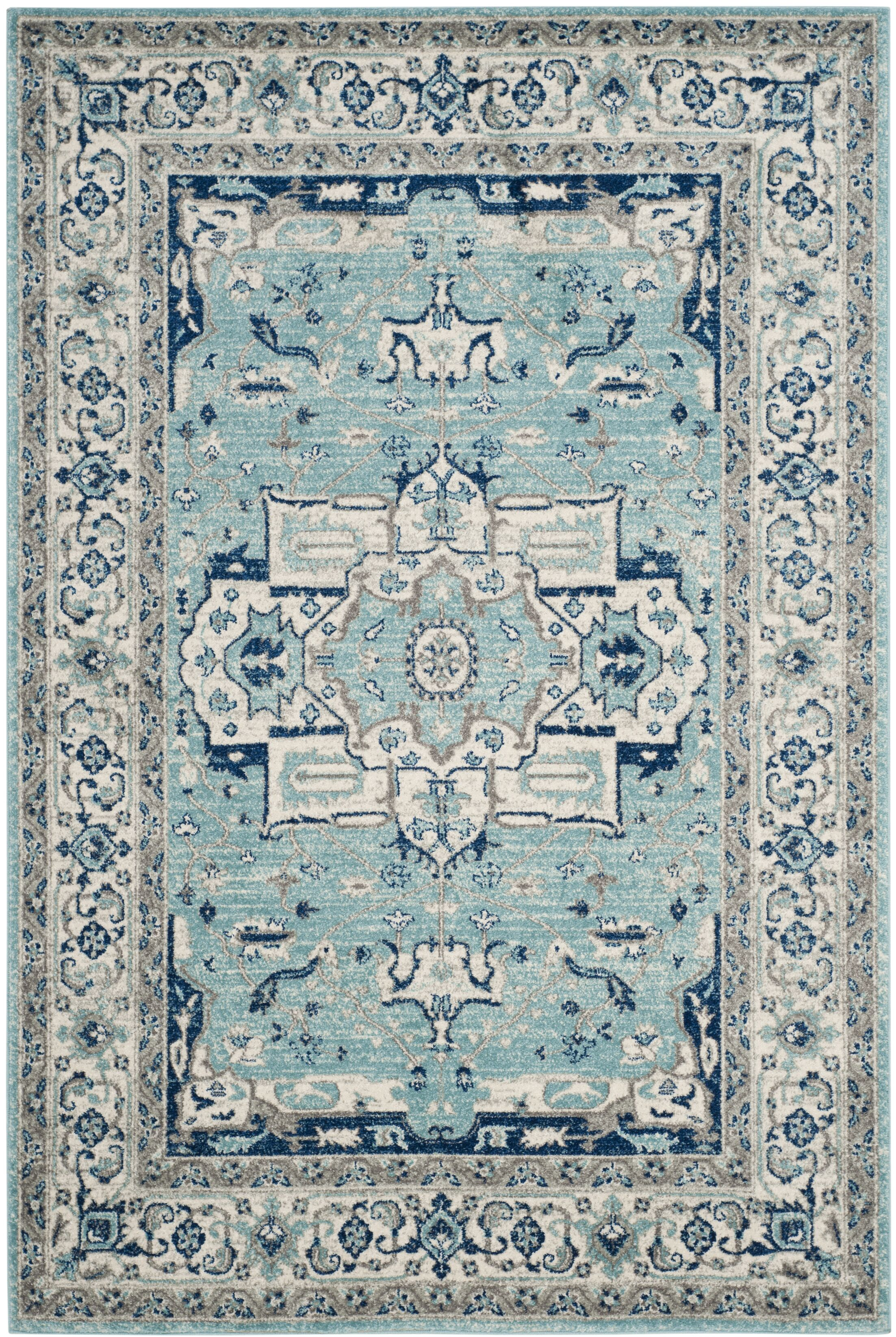 Driffield Turquoise / Ivory Area Rug Rug Size: Rectangle 9' x 12'