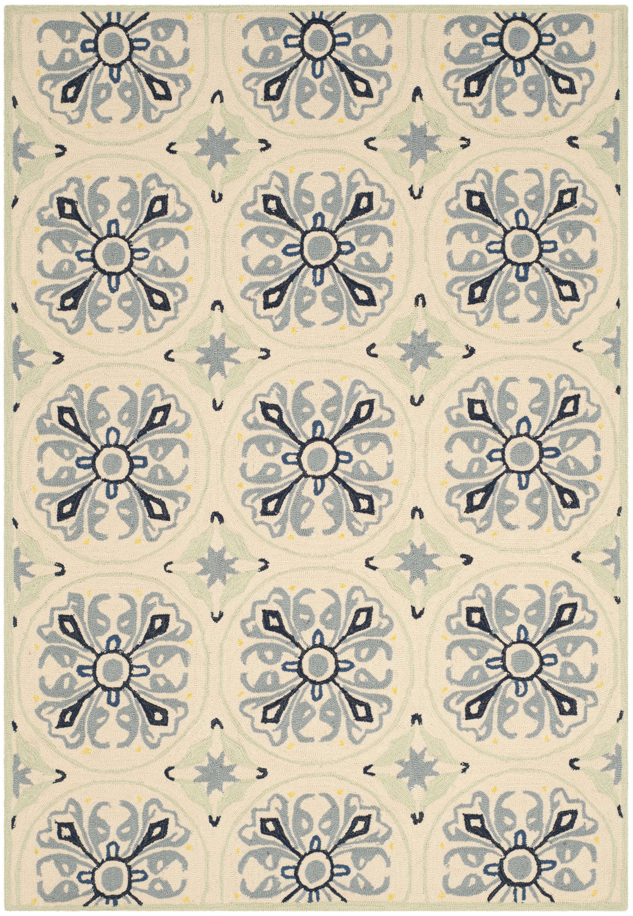 Childers Hand-Hooked Ivory / Blue Area Rug Rug Size: Rectangle 4' x 6'
