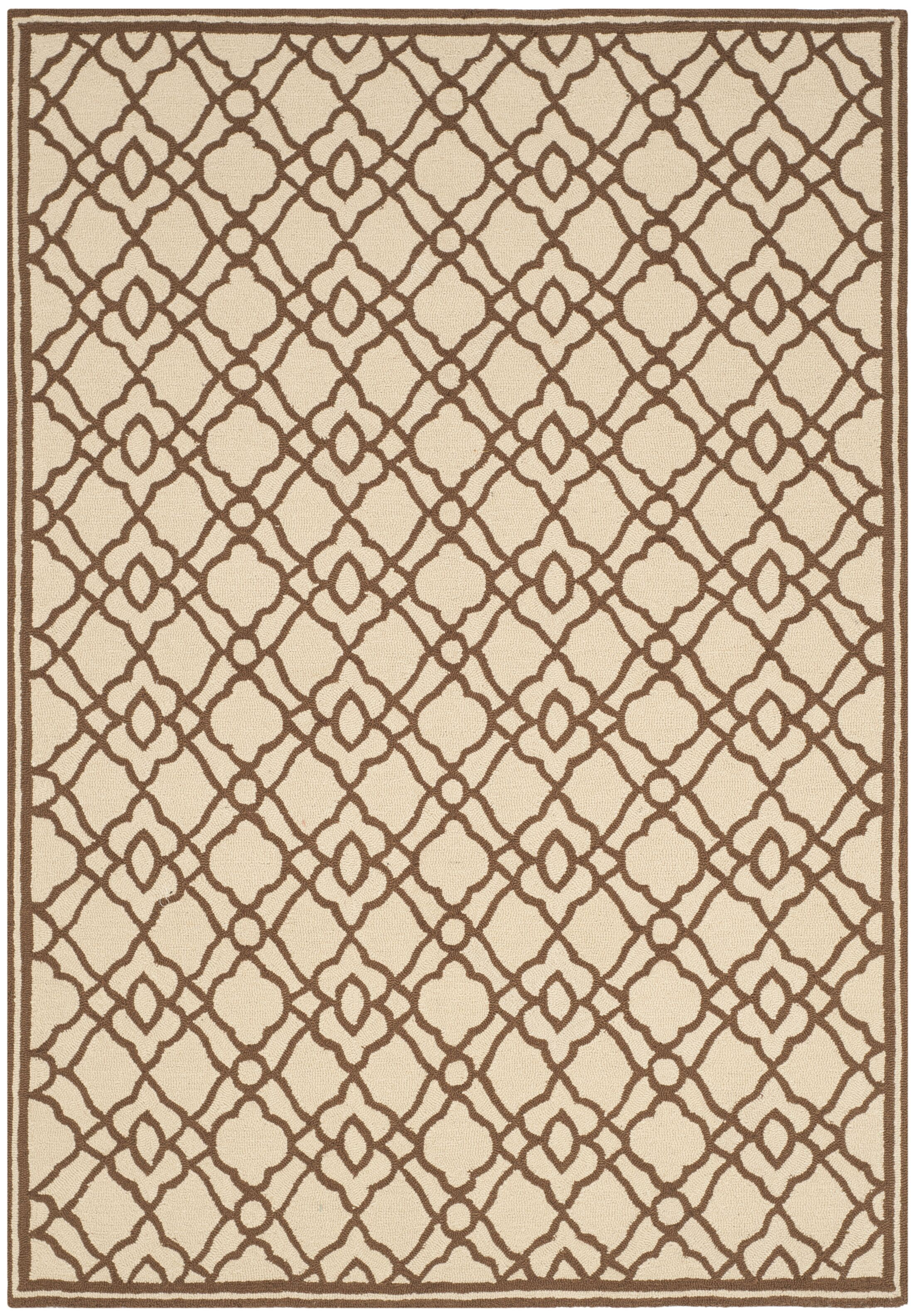 Childers Hand-Hooked Ivory / Dark Brown Area Rug Rug Size: Rectangle 8' x 10'