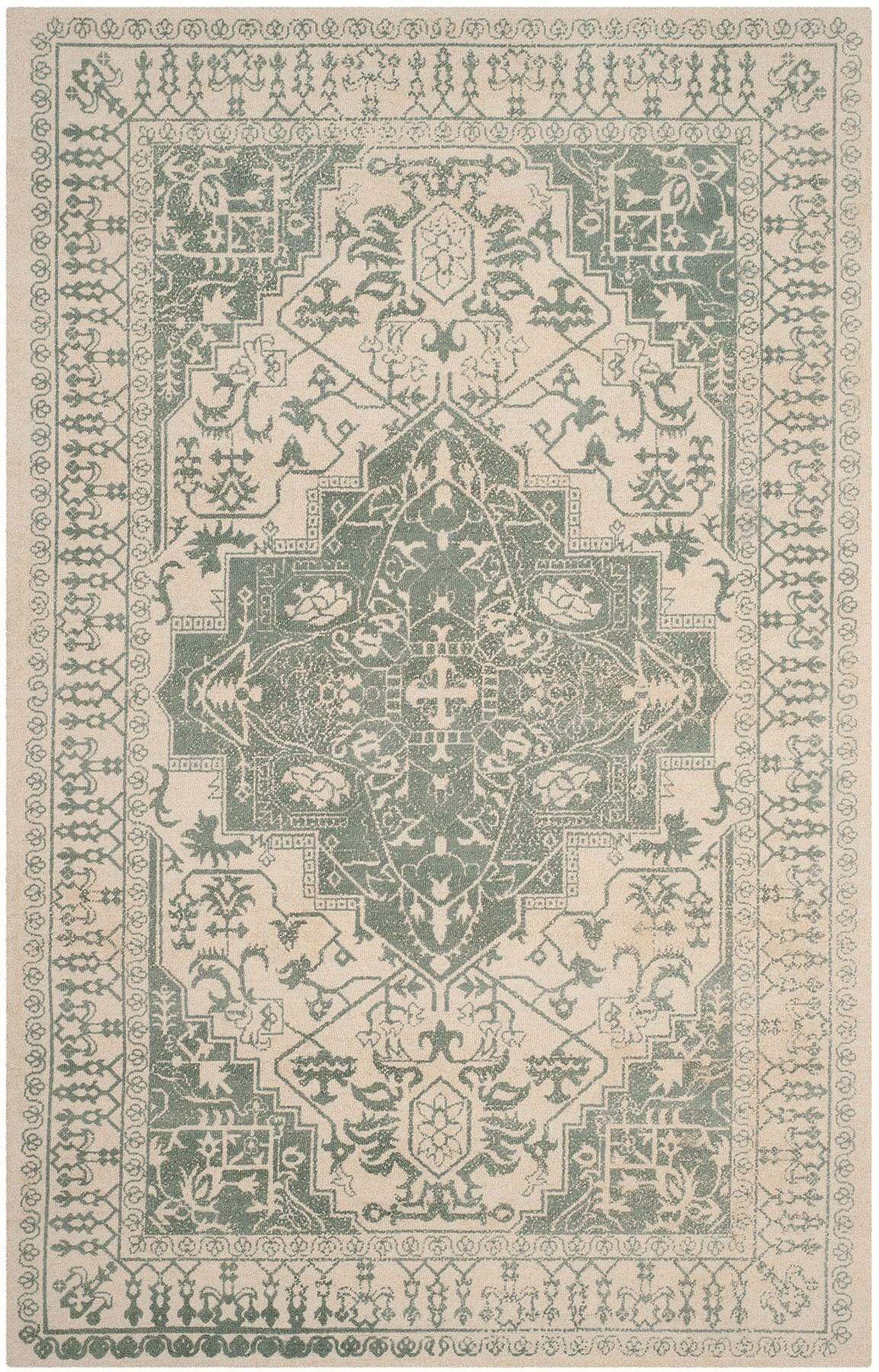 Driffield Hand-Tufted Green/Ivory Area Rug Rug Size: Rectangle 5' x 8'