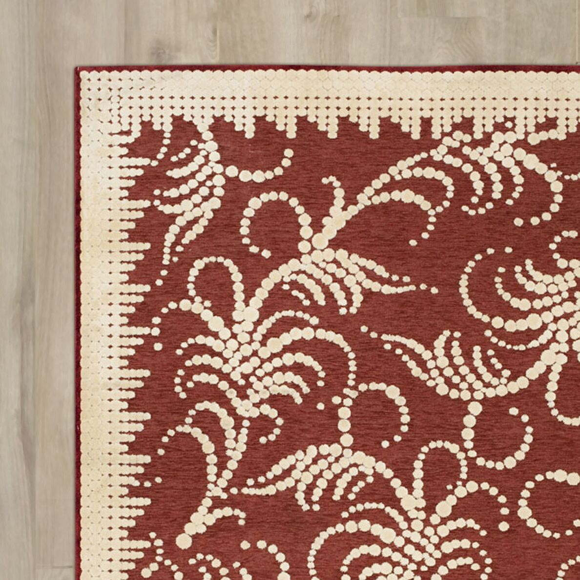 Fountain Swirl Hand-Woven Red/Ivory Area Rug Rug Size: Rectangle 5'3