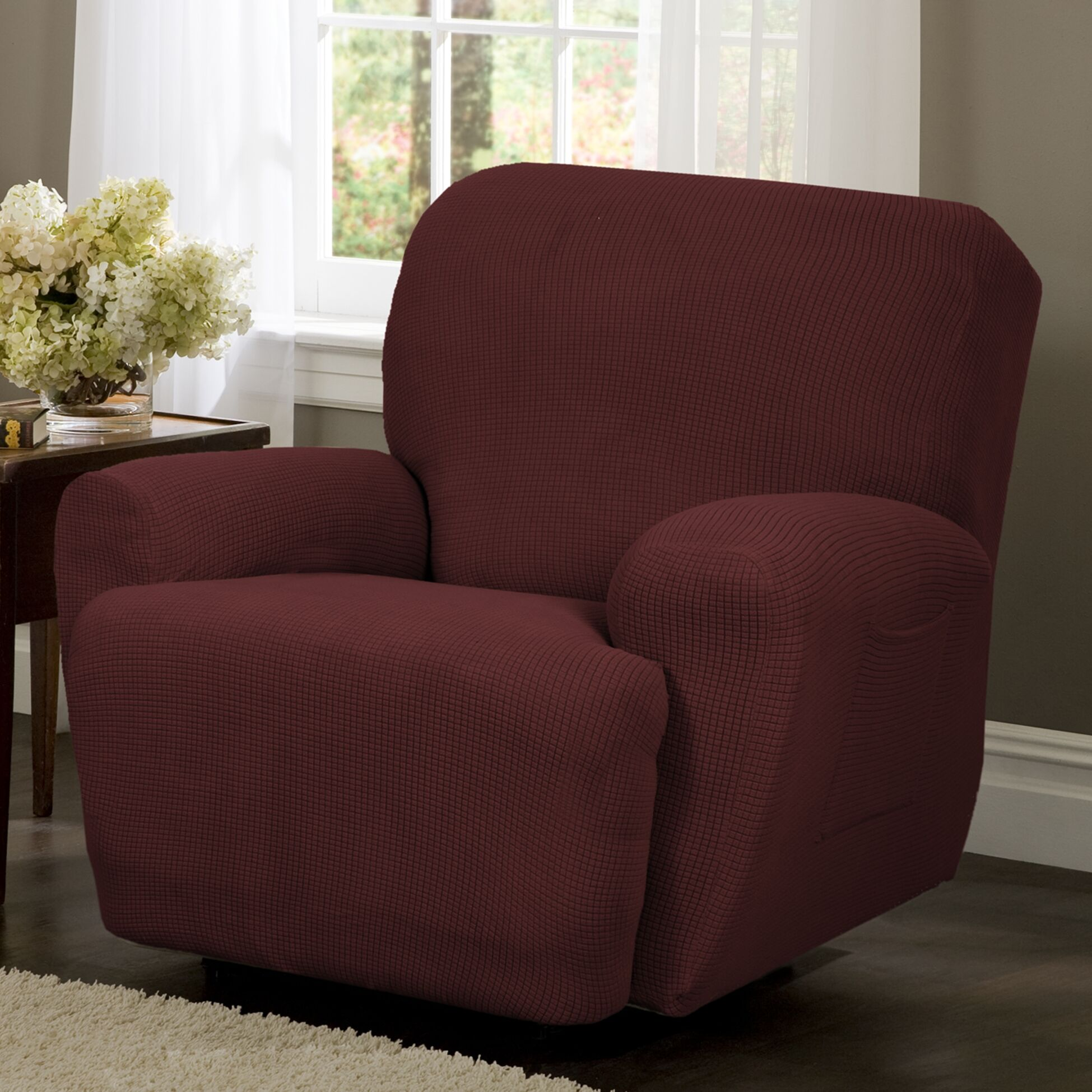 T-Cushion Recliner Slipcover Color: Red