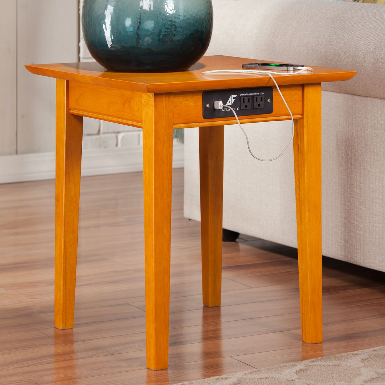 Ithaca End Table with Charging Station Color: Caramel Latte