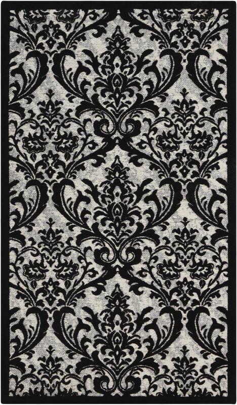 Portleven Black/White Area Rug Rug Size: Rectangle 8' x 10'
