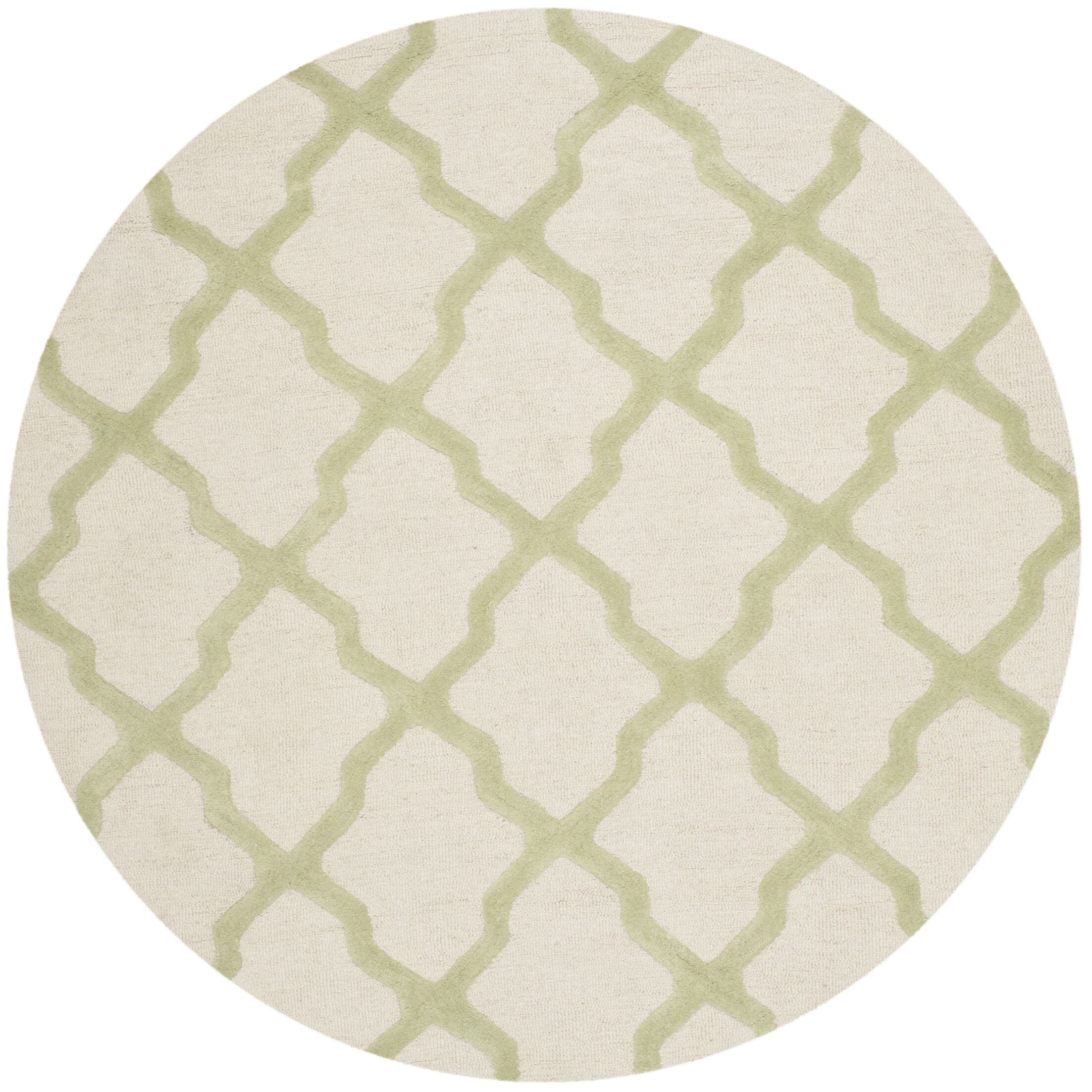 Gillam Hand-Tufted Ivory / Light Green Area Rug Rug Size: Round 6'