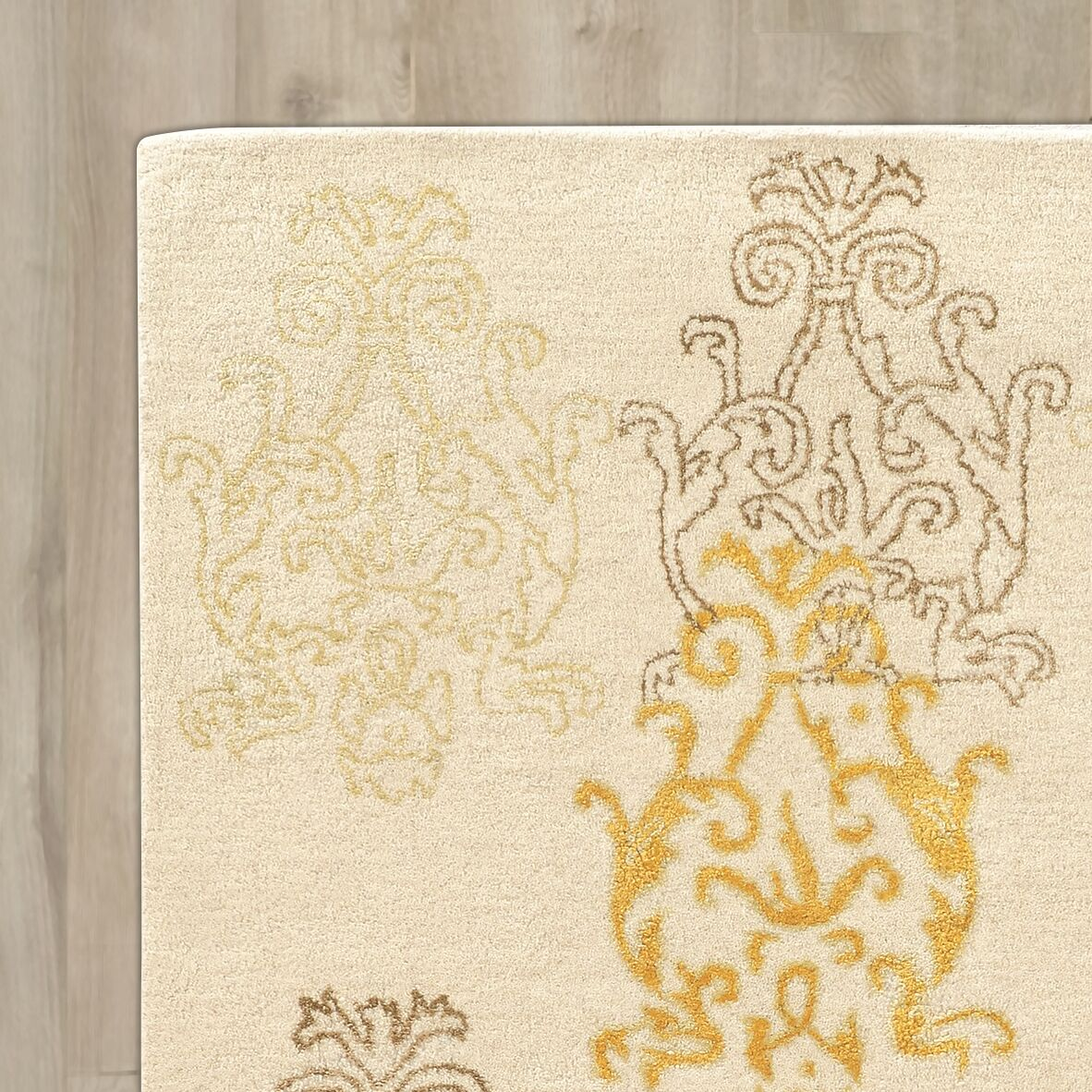 Lamoille Damask Hand-Tufted Beige/Gold Area Rug Rug Size: Rectangle 8' x 11'