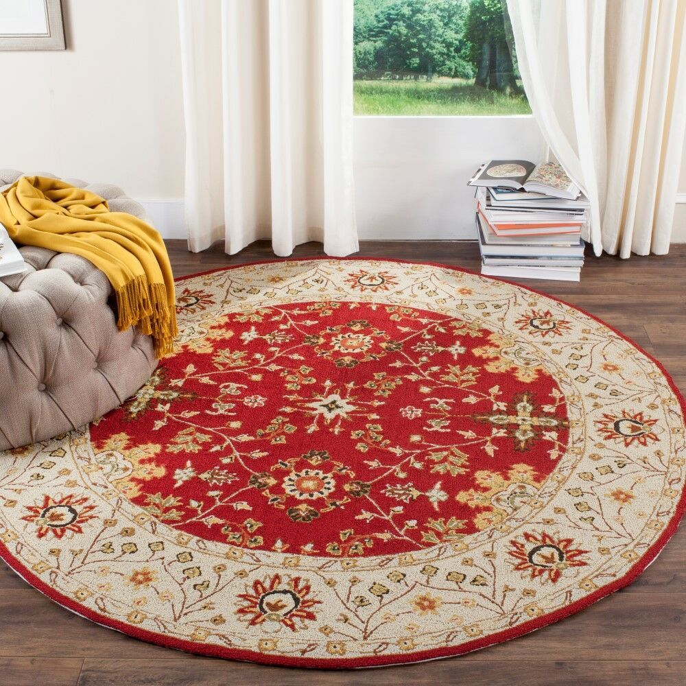 Driffield Hand-Hooked Red / Ivory Area Rug Rug Size: Rectangle 9' x 12'