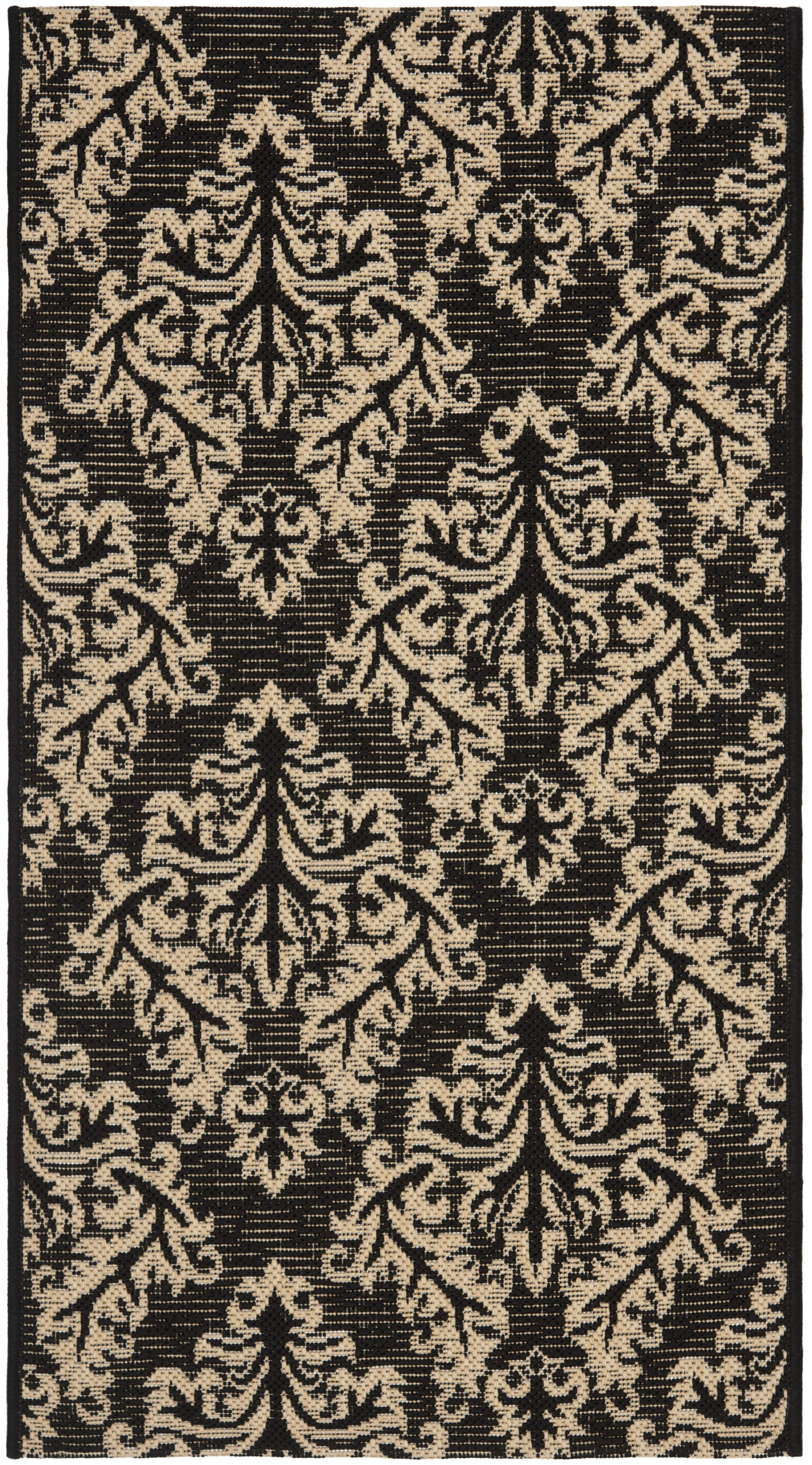 Octavius Black/Cream Indoor/Outdoor Area Rug Rug Size: Rectangle 9' x 12'6