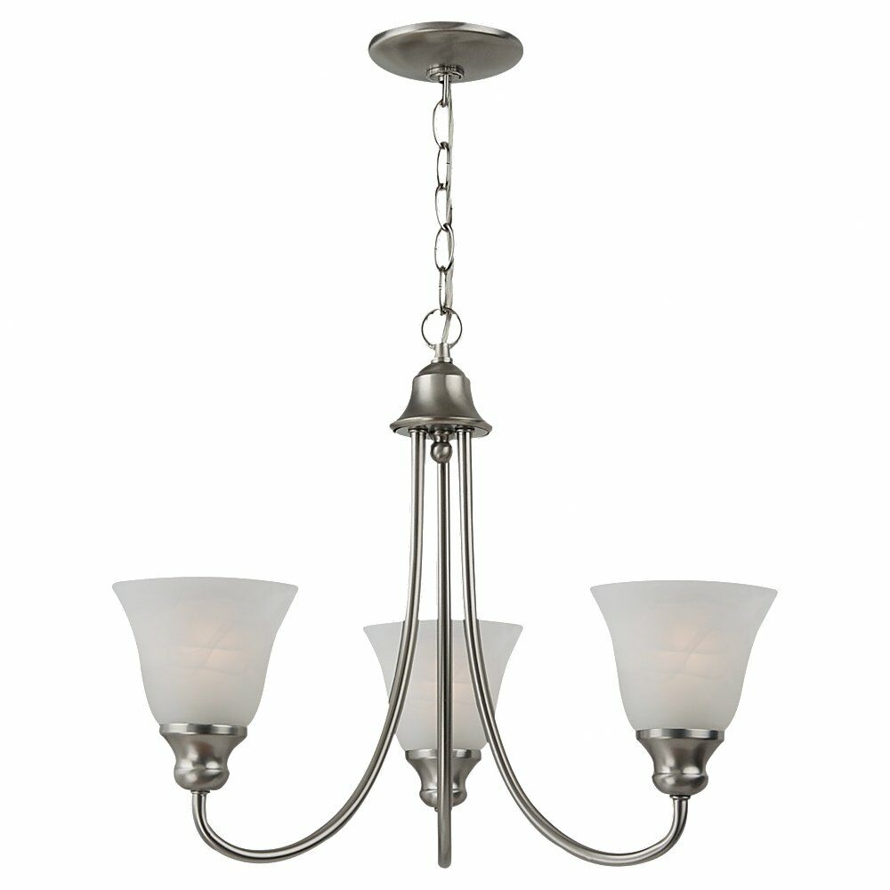 Hartford 3-Light Shaded Chandelier Bulb Type: 100W Medium, Finish: Brushed Nickel