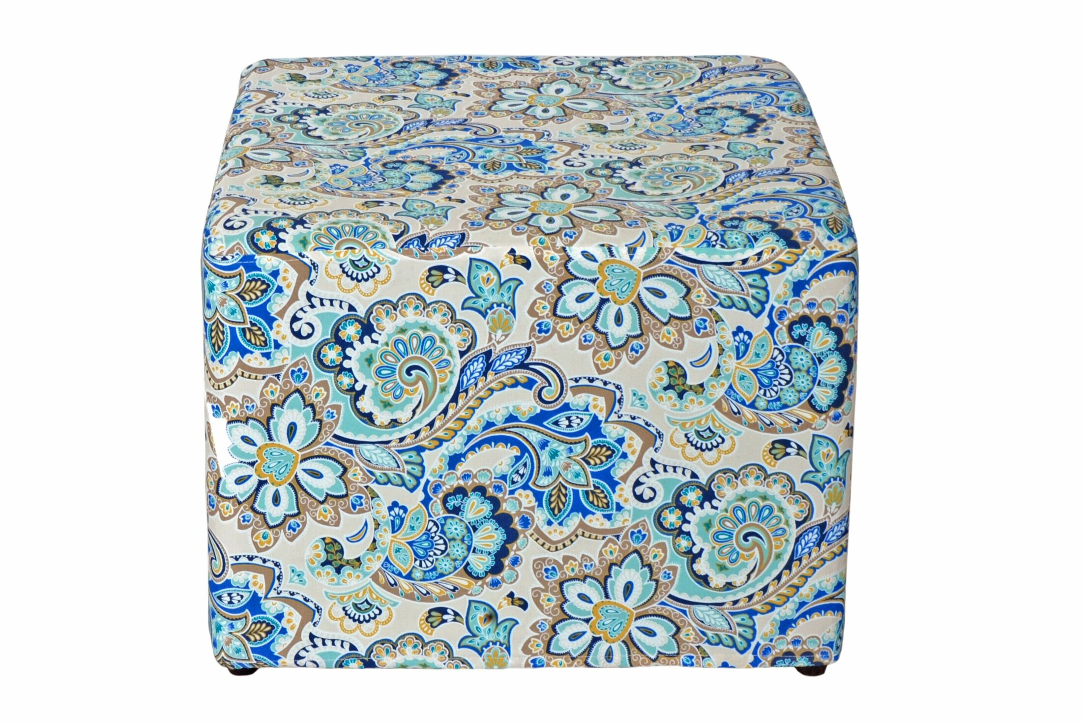 Dale Cube Ottoman Fabric: Blue Floral