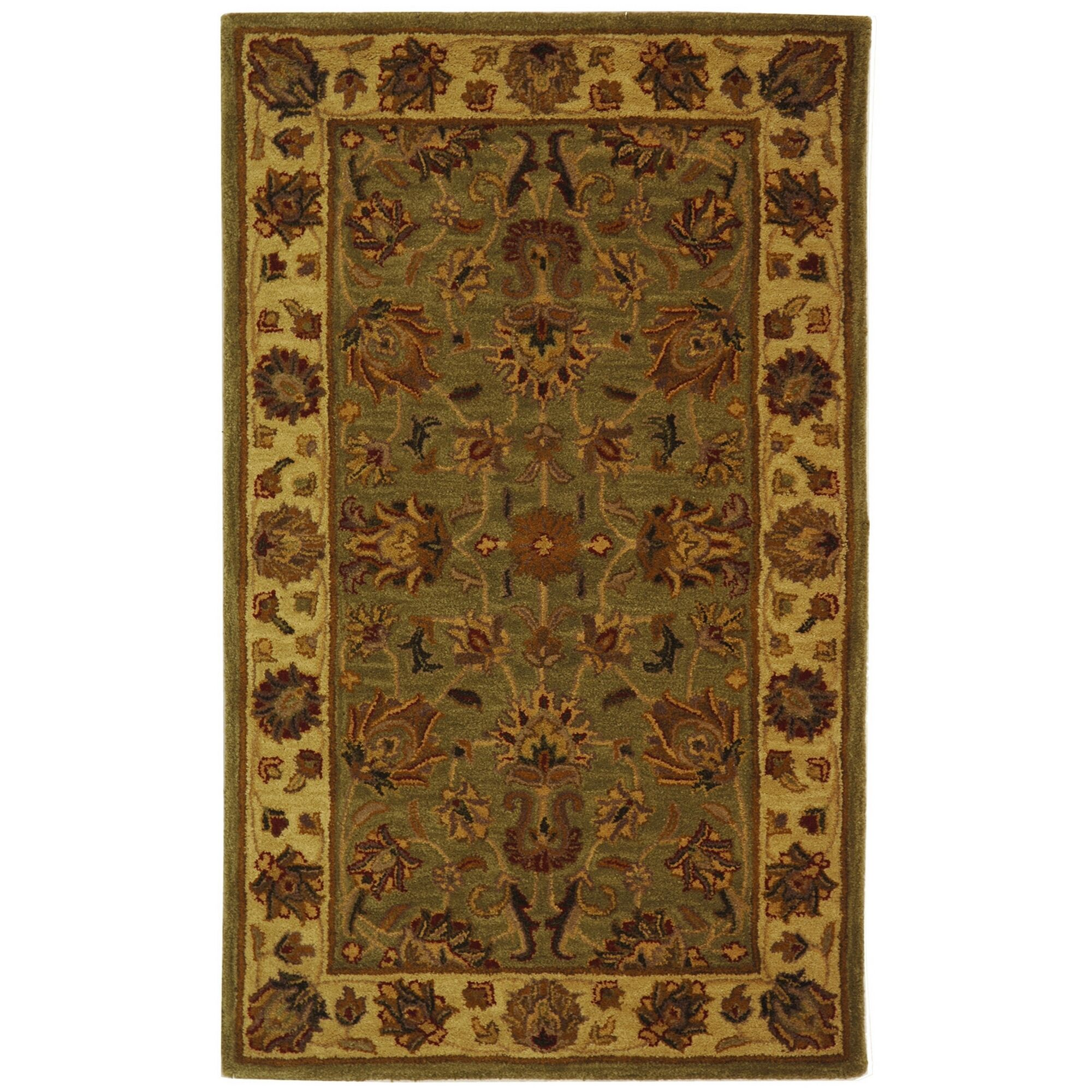 Cranmore Hand-Tufted Wool Green/Gold Area Rug Rug Size: Rectangle 9'6