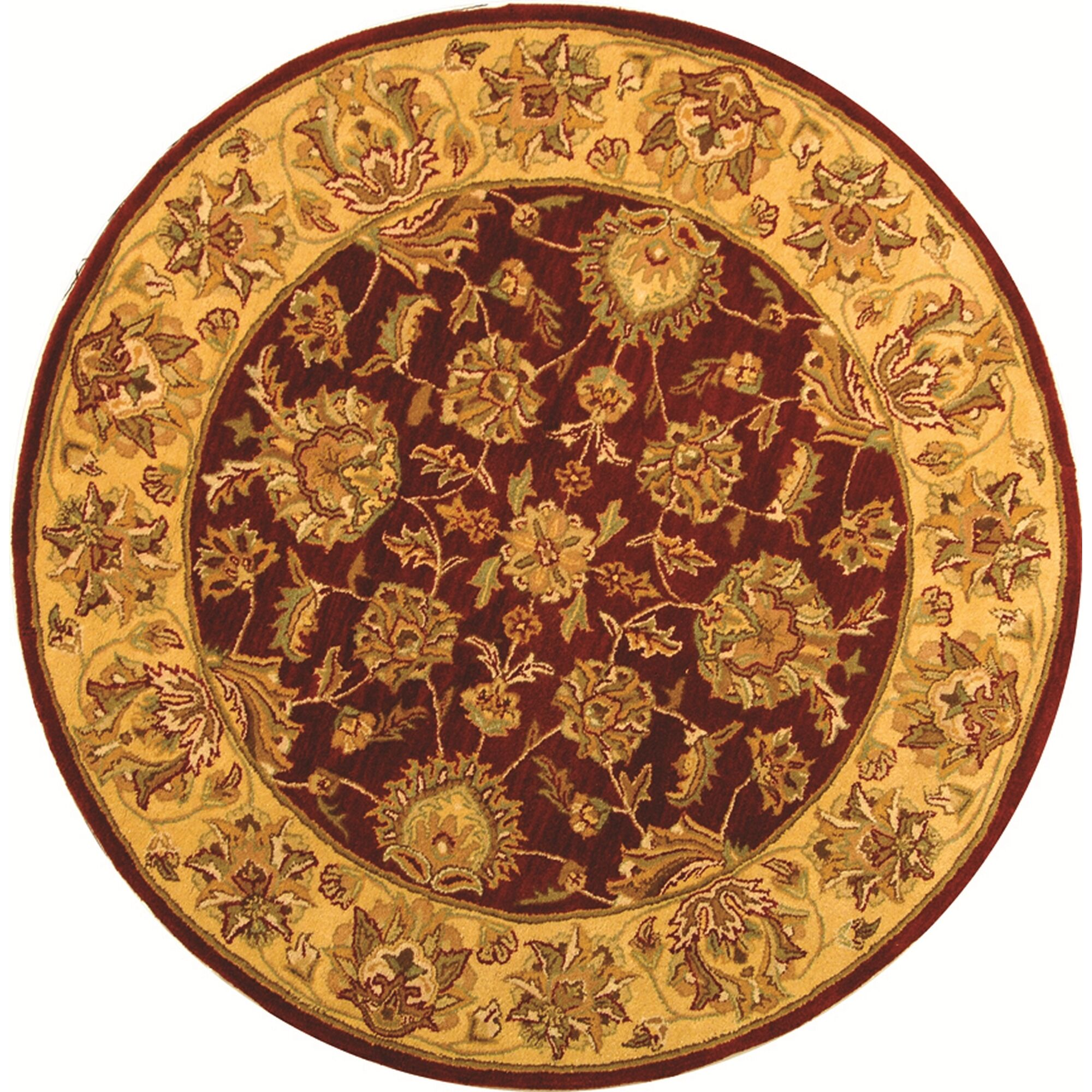Cranmore Hand-Tufted Wool Red/Gold  Area Rug Rug Size: Round 6'