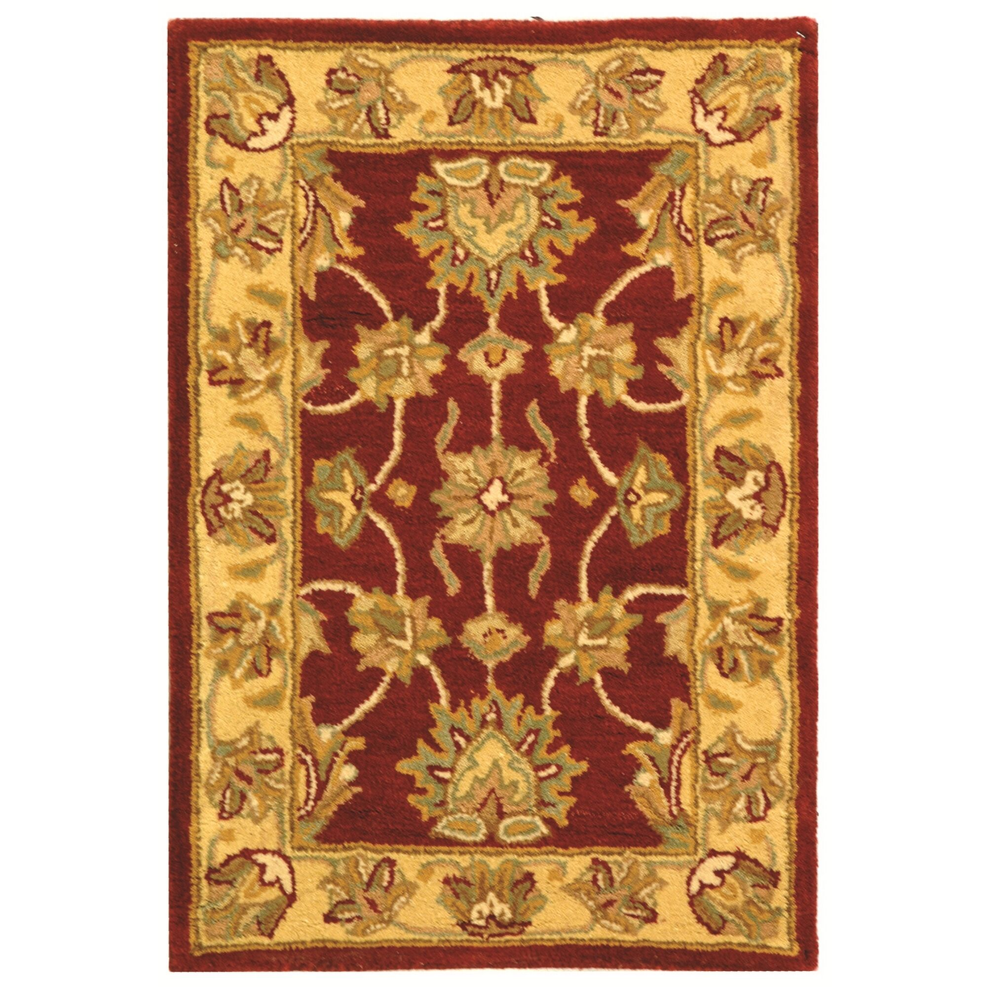 Cranmore Hand-Tufted Wool Red/Gold  Area Rug Rug Size: Rectangle 3' x 5'