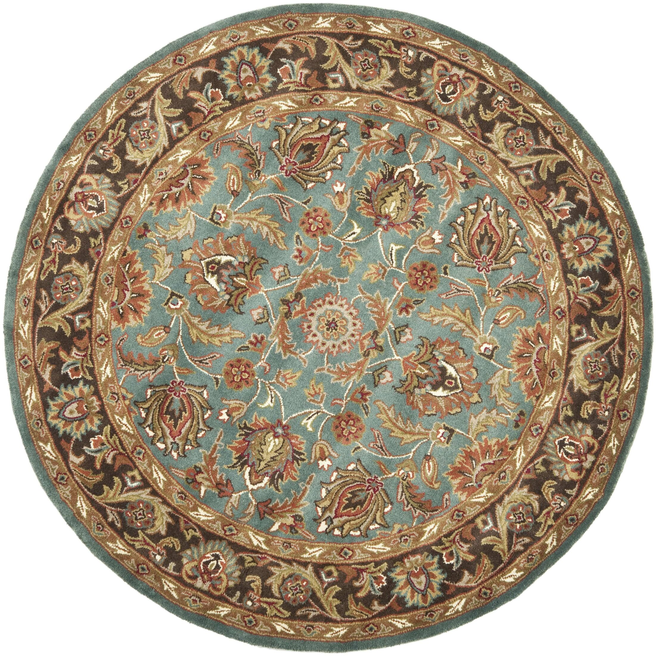 Cranmore Hand-Tufted Blue/Brown Area Rug Rug Size: Round 8'