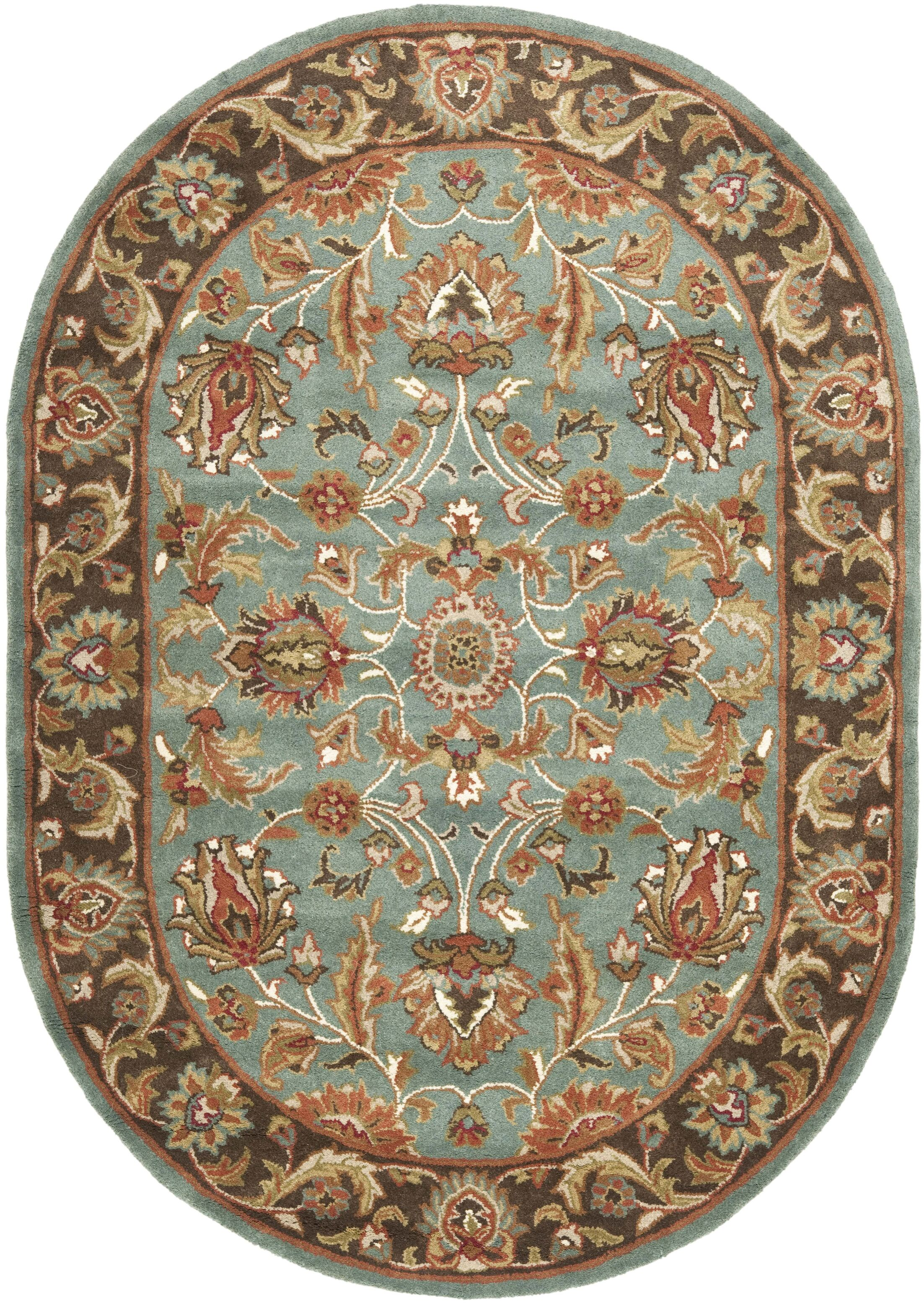 Cranmore Hand-Tufted Blue/Brown Area Rug Rug Size: Oval 7'6