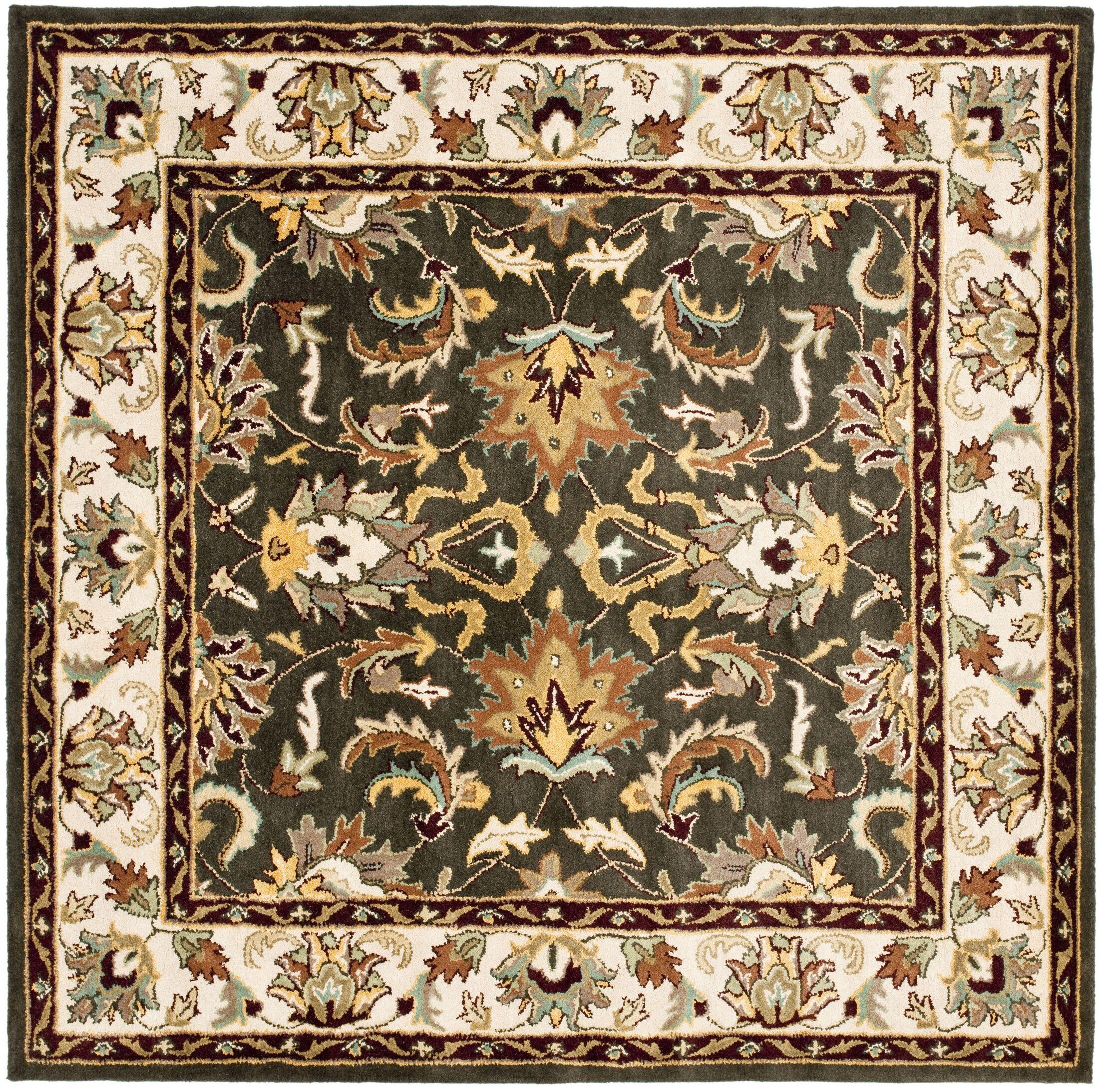 Cranmore Black/Ivory Area Rug Rug Size: Square 6'