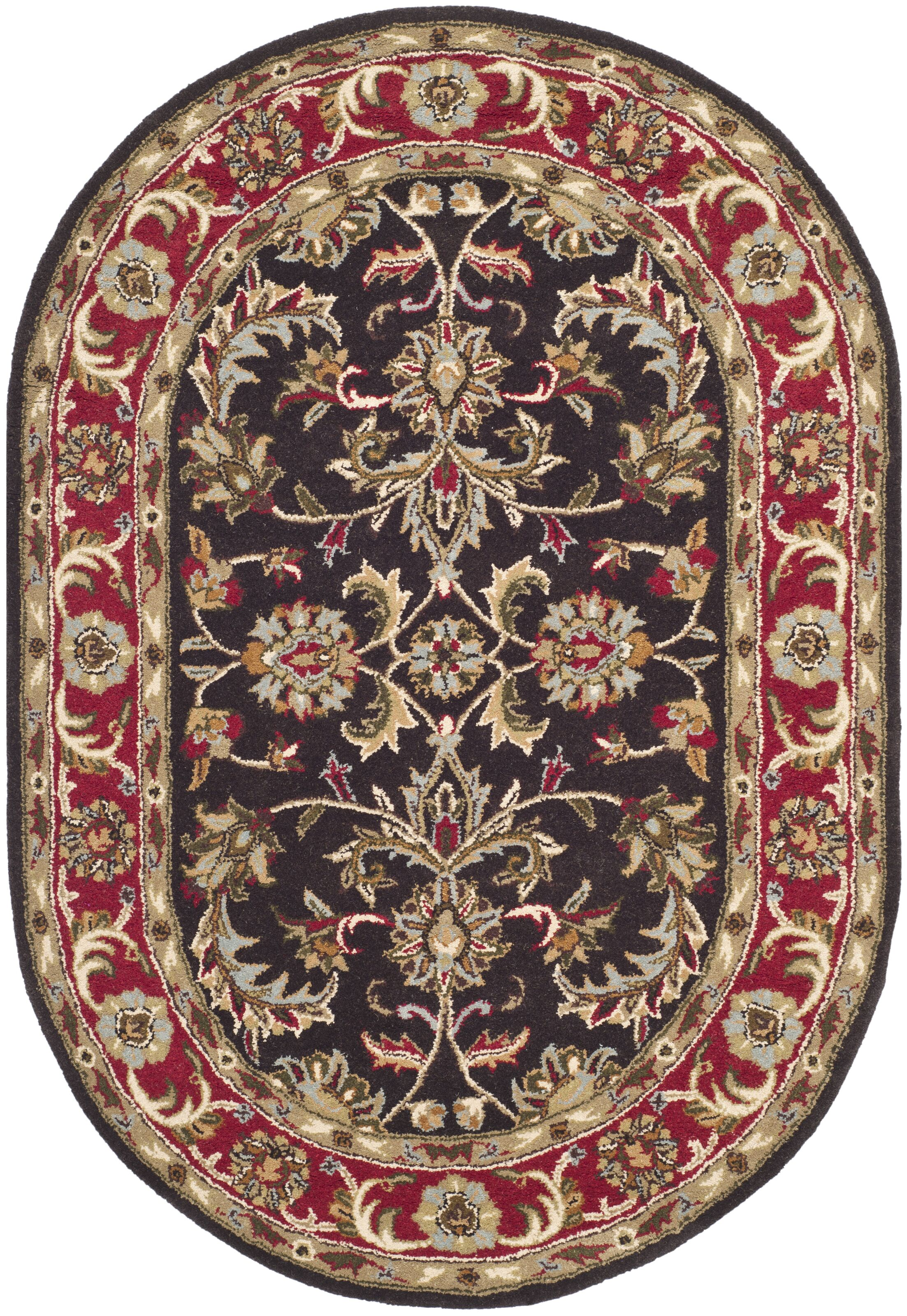 Cranmore Chocolate/Red Area Rug Rug Size: Oval 4'6