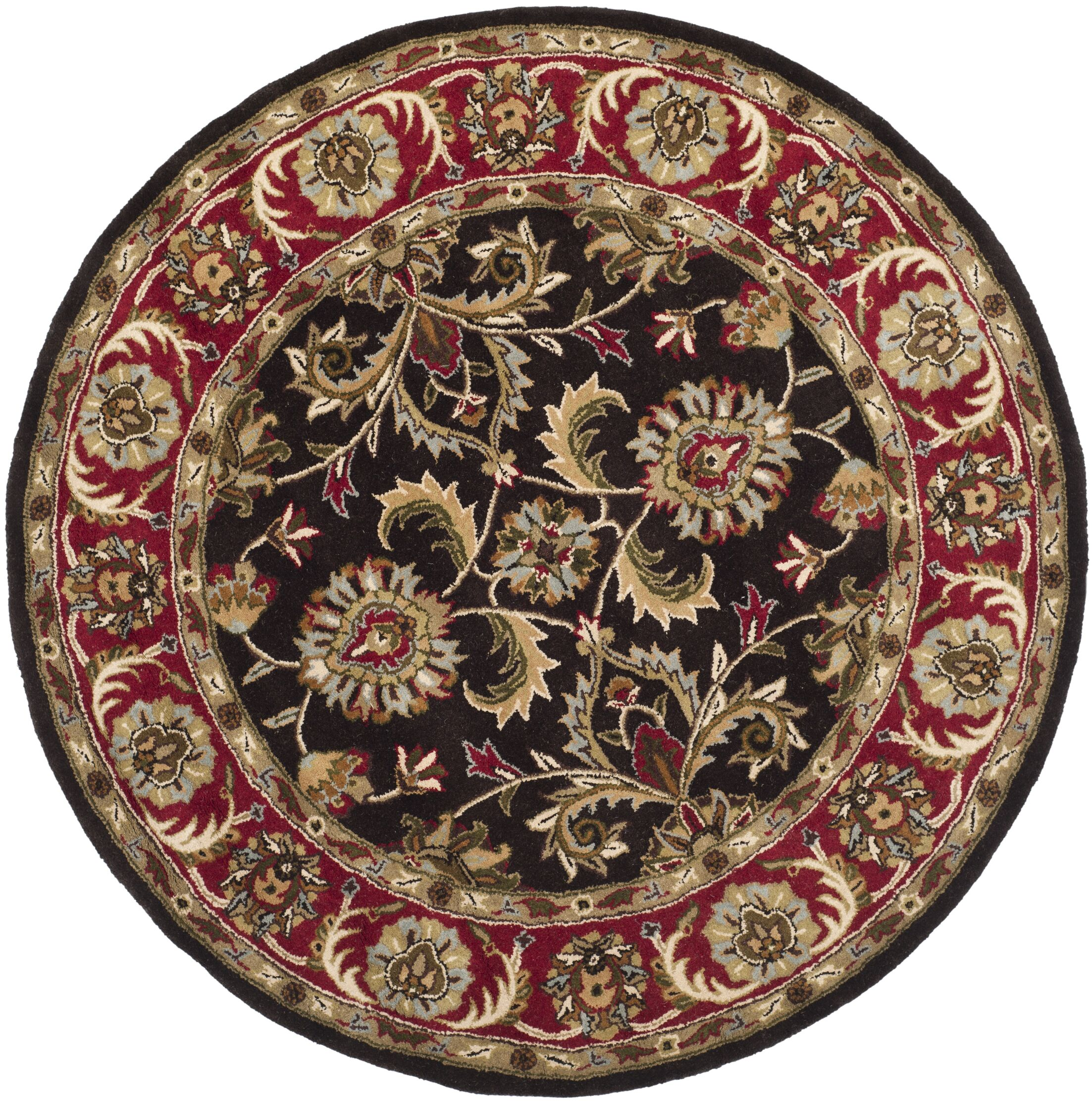 Cranmore Chocolate/Red Area Rug Rug Size: Round 4'