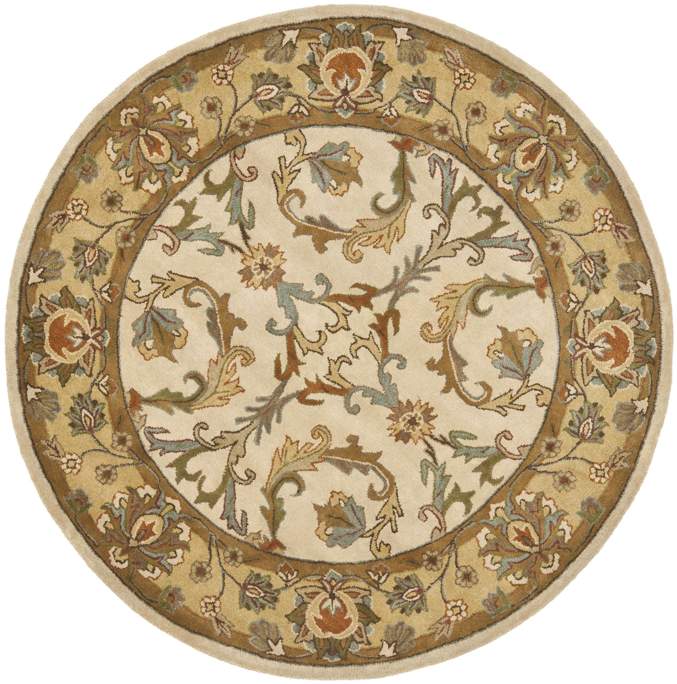Cranmore Beige/Gold Area Rug Rug Size: Round 6'